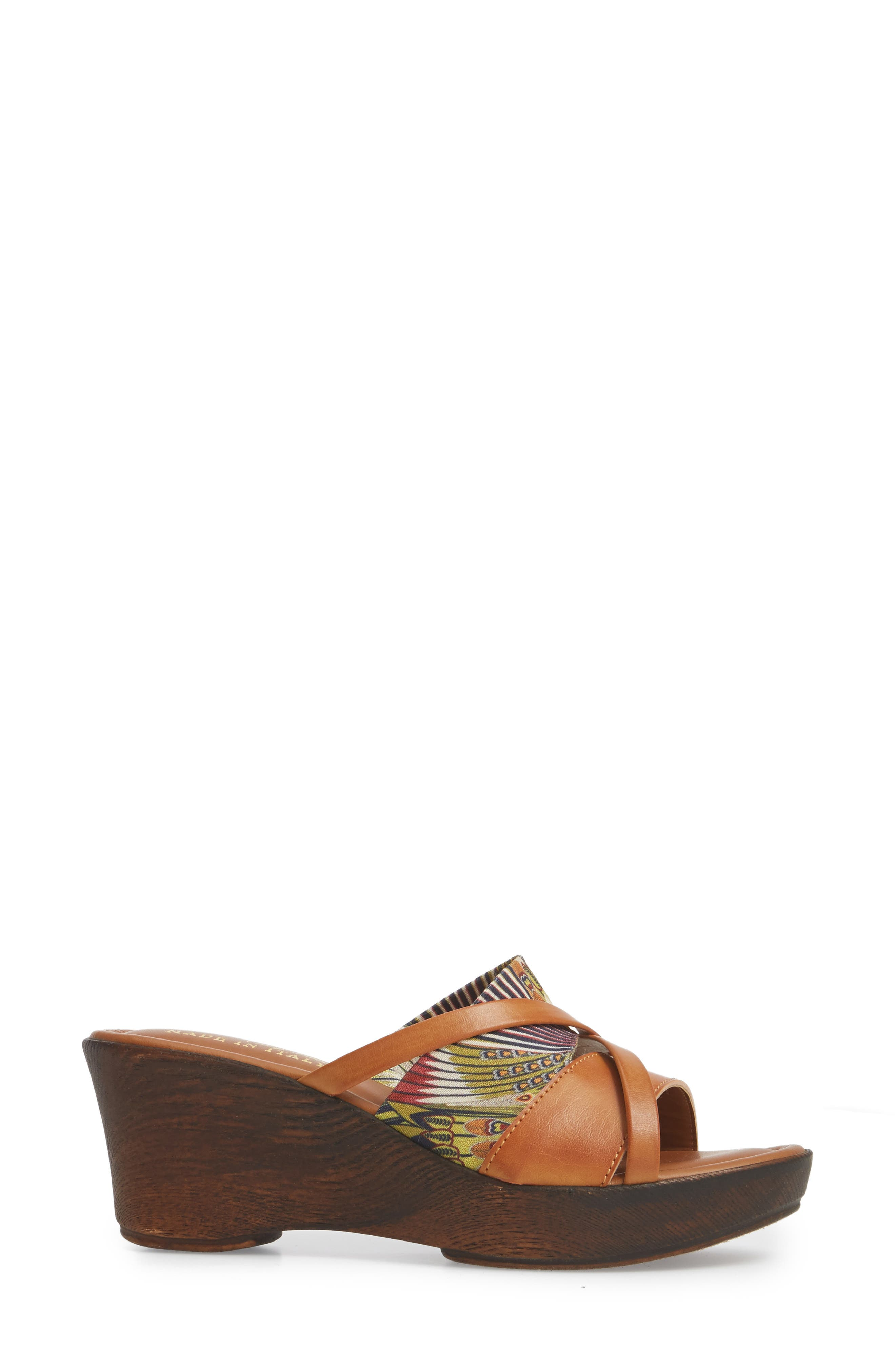 by East Street<sup>®</sup> Lucette Strappy Wedge Mule,                             Alternate thumbnail 3, color,                             Natural/ Feather Faux Leather