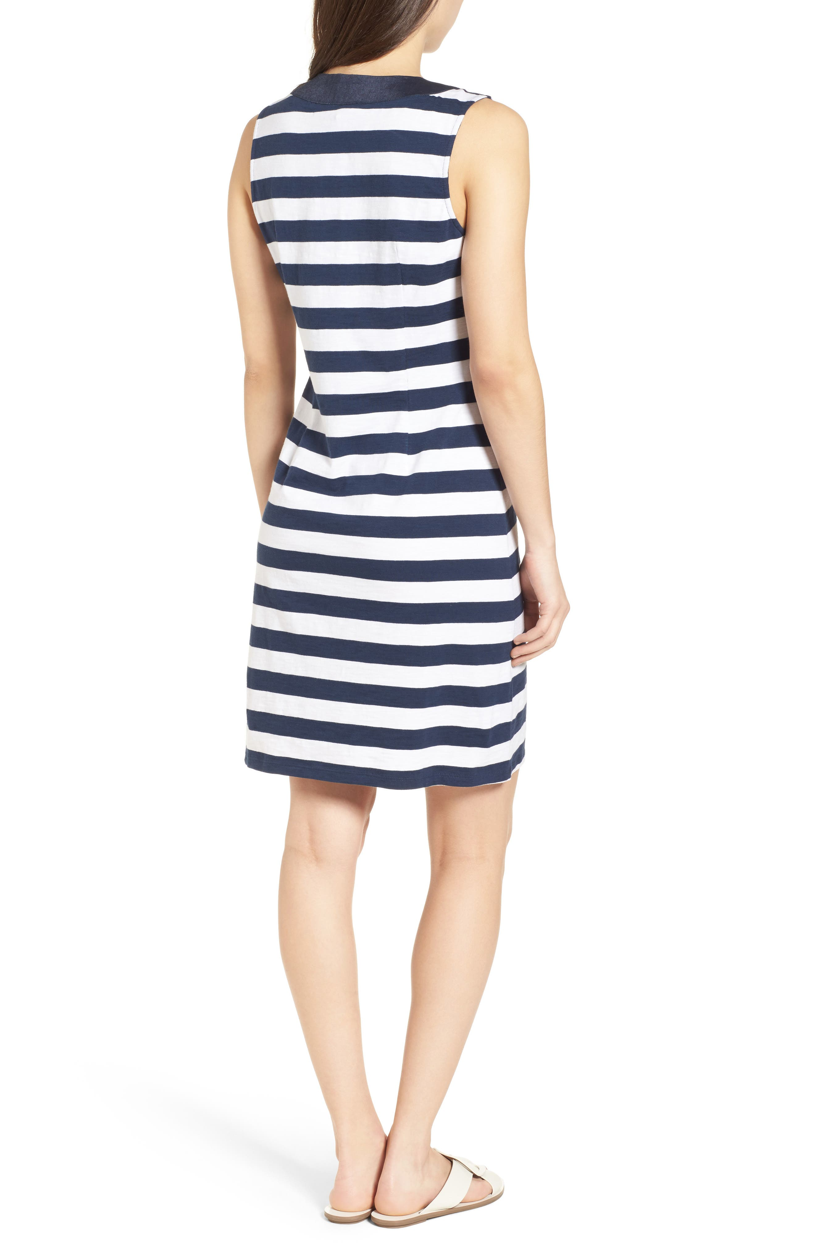 Stripe Right Lace-Up Stretch Cotton Dress,                             Alternate thumbnail 2, color,                             Ocean Deep