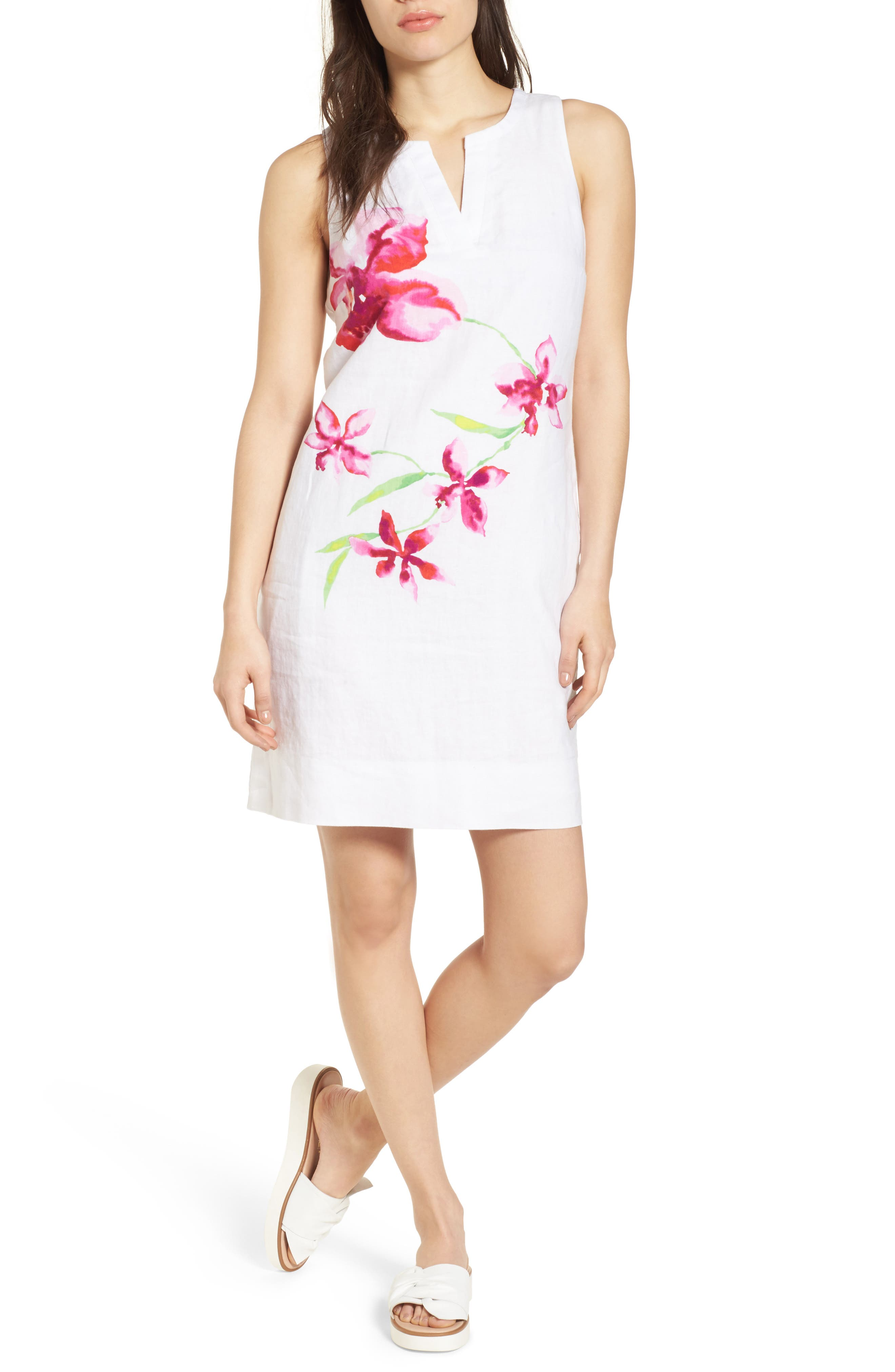 Floral Fade Shift Dress,                             Main thumbnail 1, color,                             White