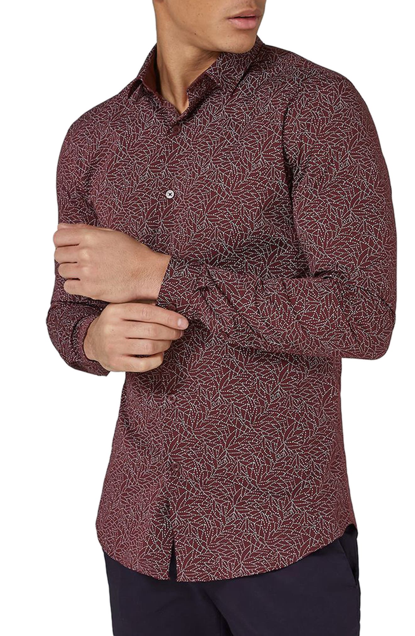 Muscle Fit Line Print Sport Shirt,                         Main,                         color, Burgundy Multi