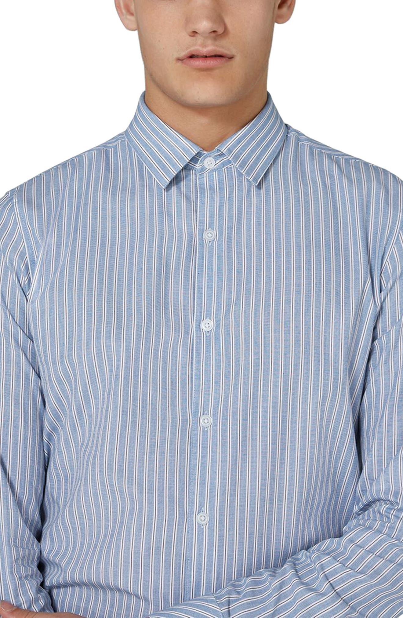 Classic Fit Stripe Smart Shirt,                             Alternate thumbnail 3, color,                             Blue Multi