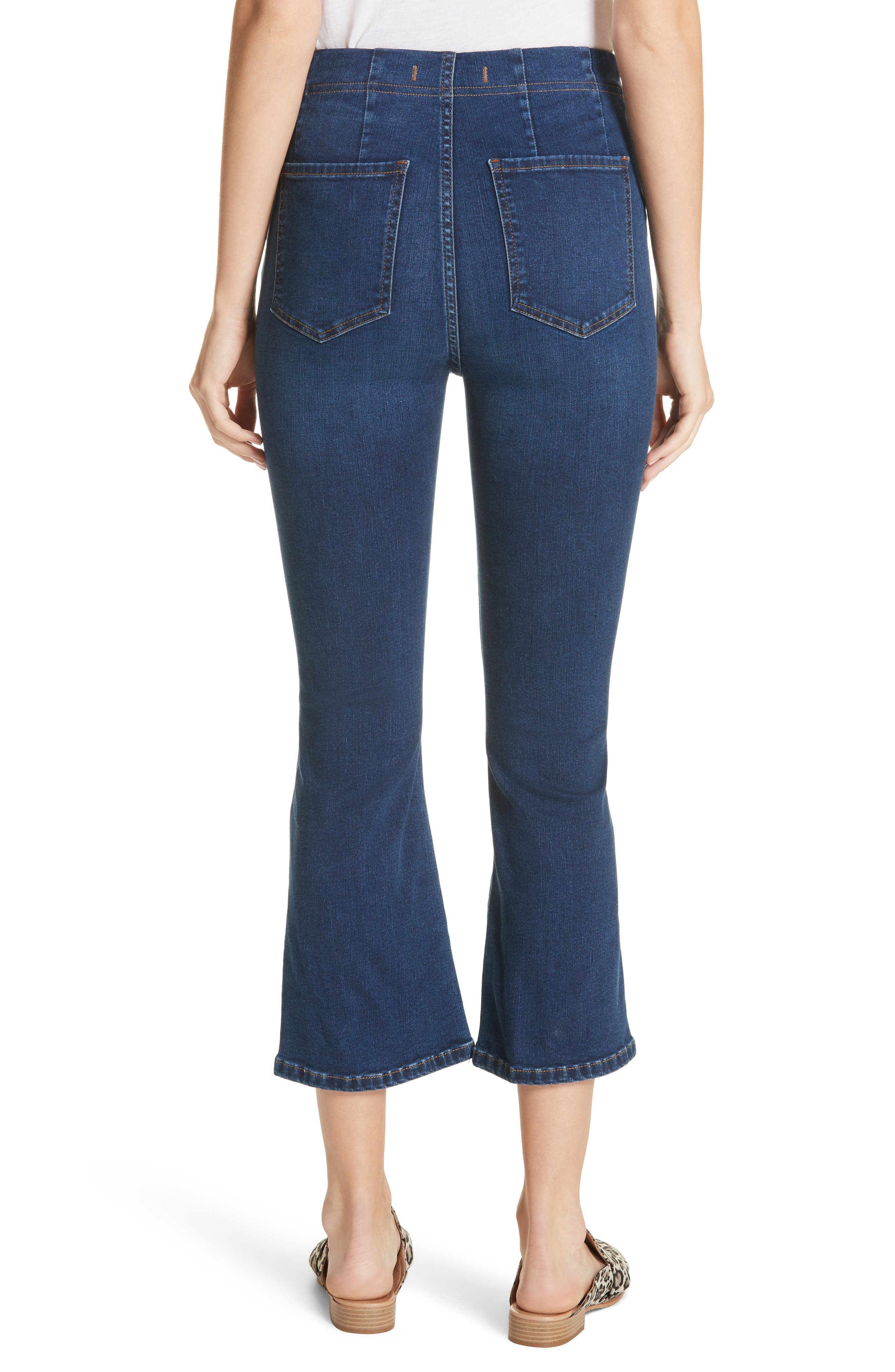 Pull-On Ultra High Waist Crop Bootcut Jeans,                             Alternate thumbnail 3, color,                             Blue