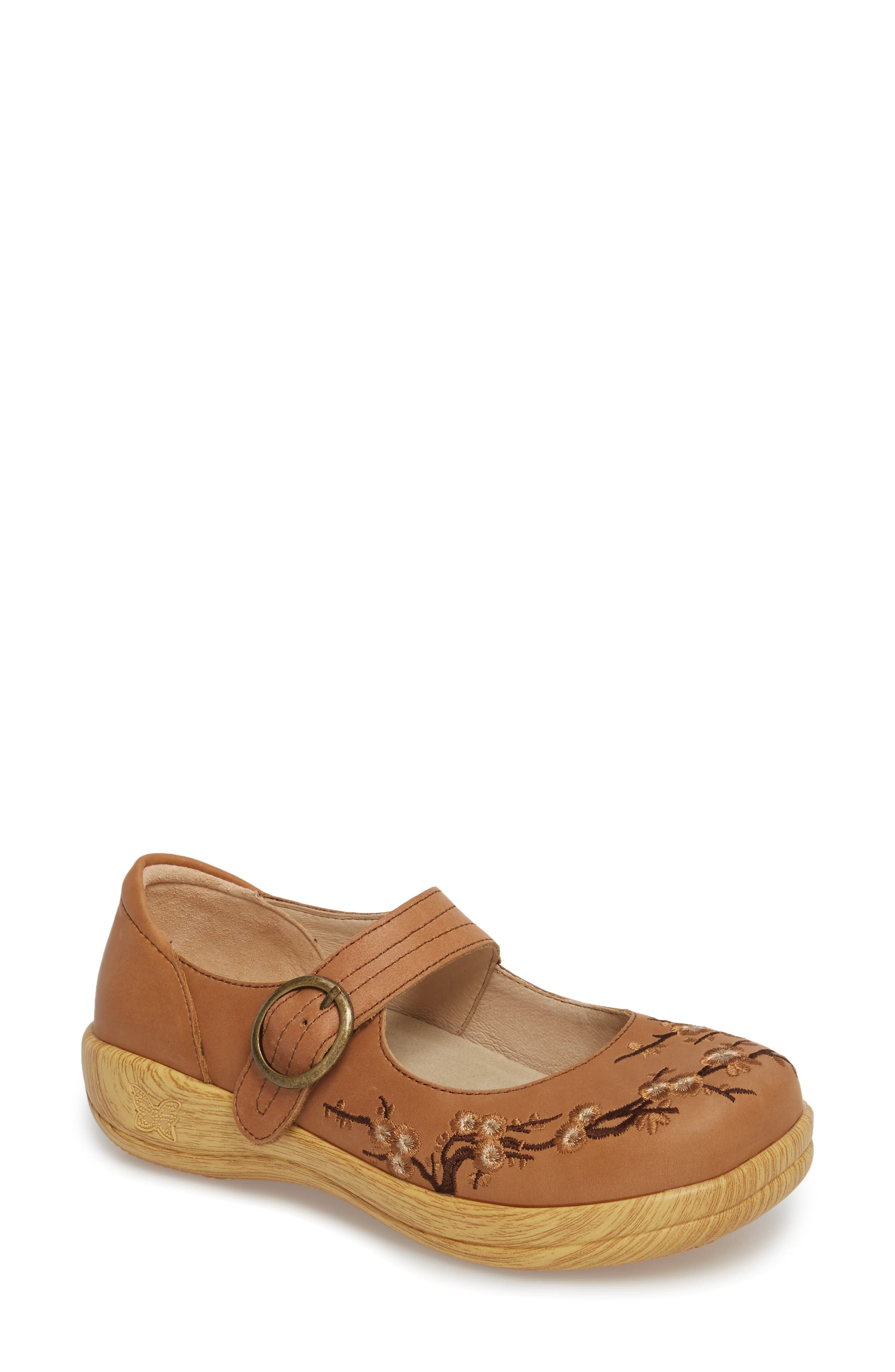 Kourtney Flat,                             Main thumbnail 1, color,                             Tree Embroidery Leather