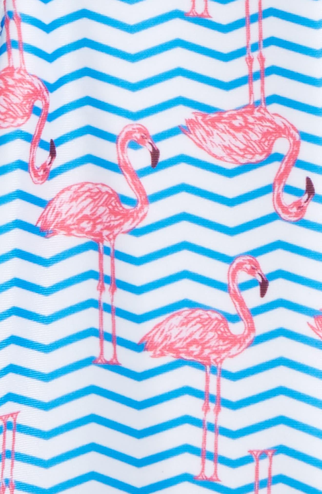 Zigzag Flamingos One-Piece Rashguard Swimsuit,                             Alternate thumbnail 2, color,                             Blue Multi