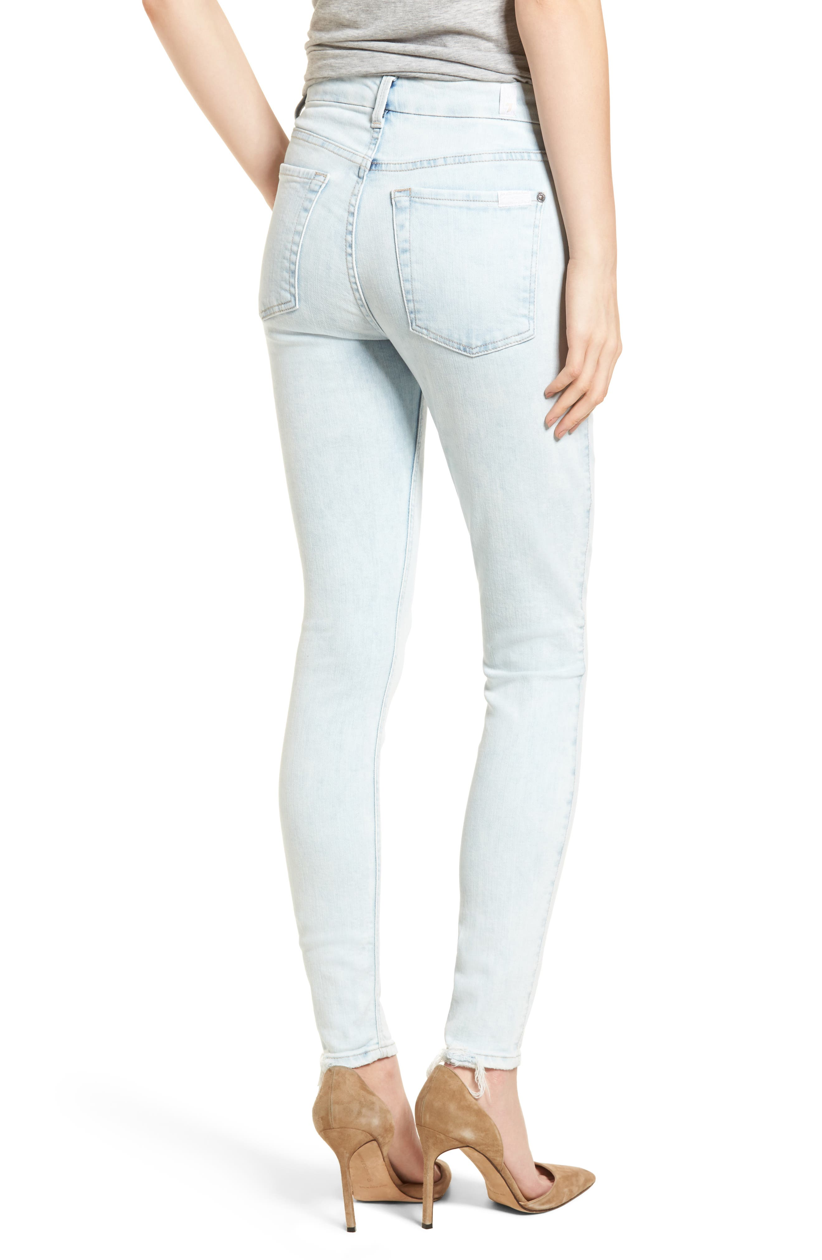 High Waist Ankle Skinny Jeans,                             Alternate thumbnail 2, color,                             Bleached Out