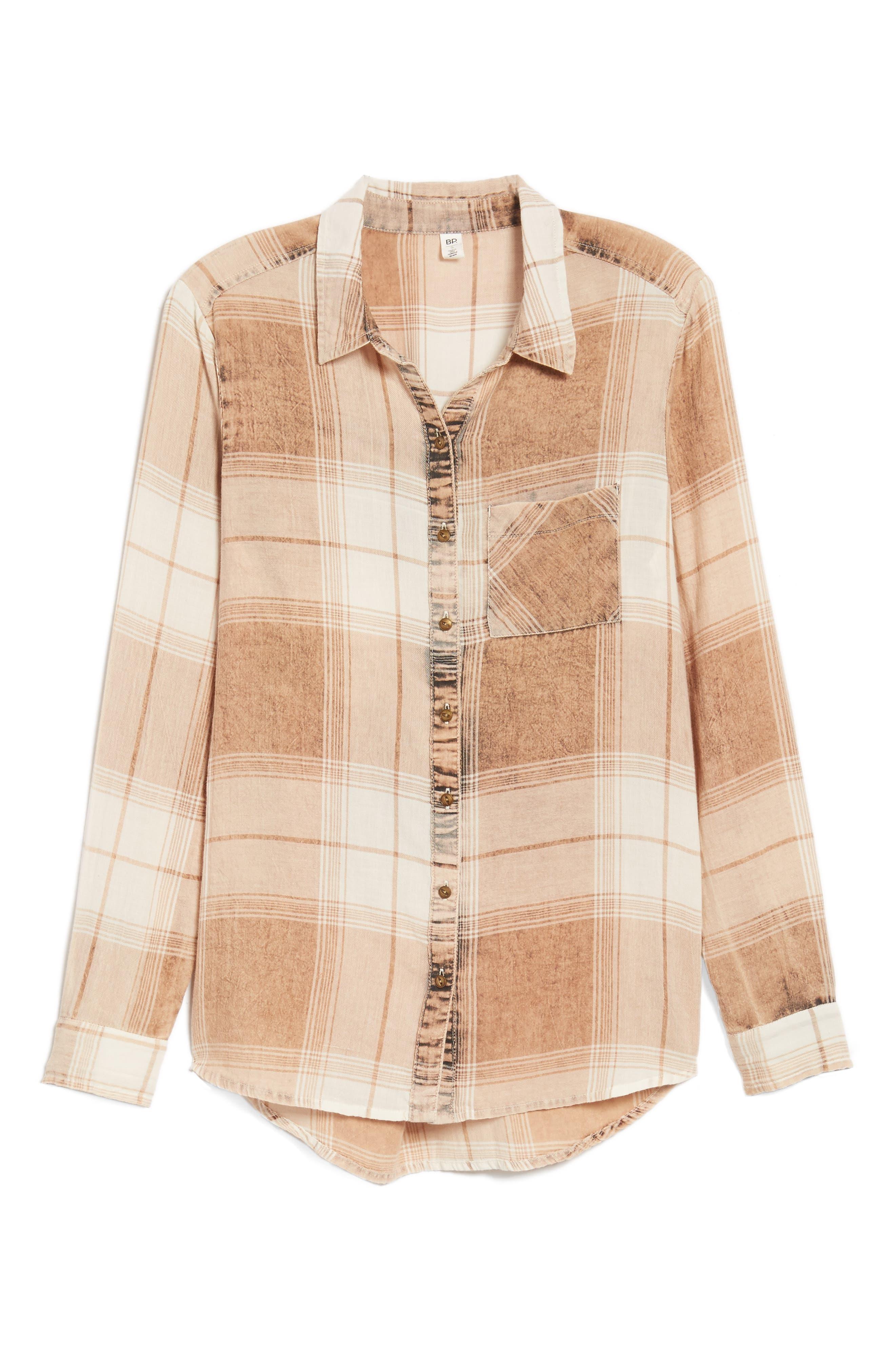Plaid Button Up Shirt,                             Alternate thumbnail 6, color,                             Tan Nomad Freida Plaid