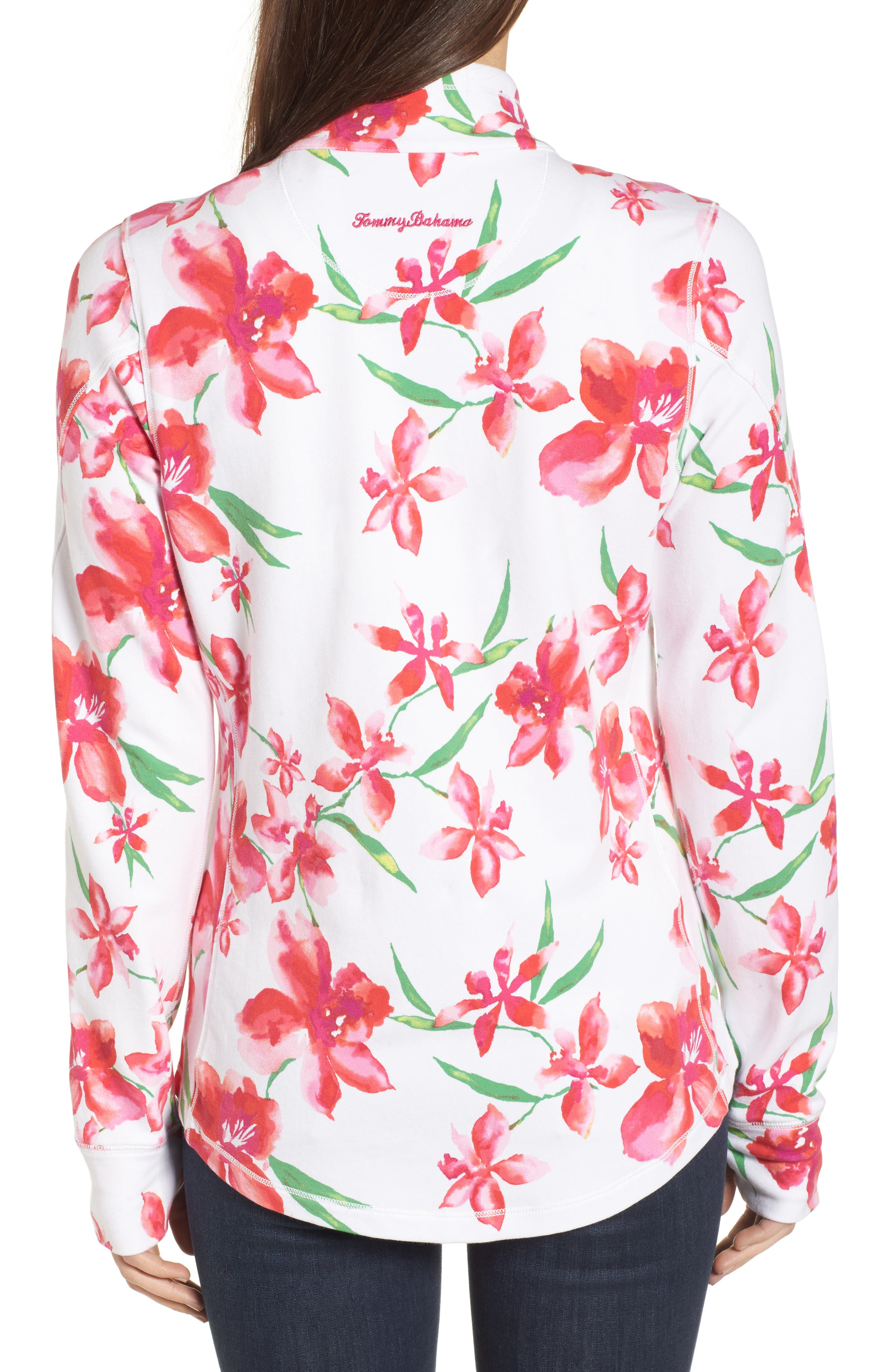 Floral Fade Stretch Cotton Zip Jacket,                             Alternate thumbnail 2, color,                             White