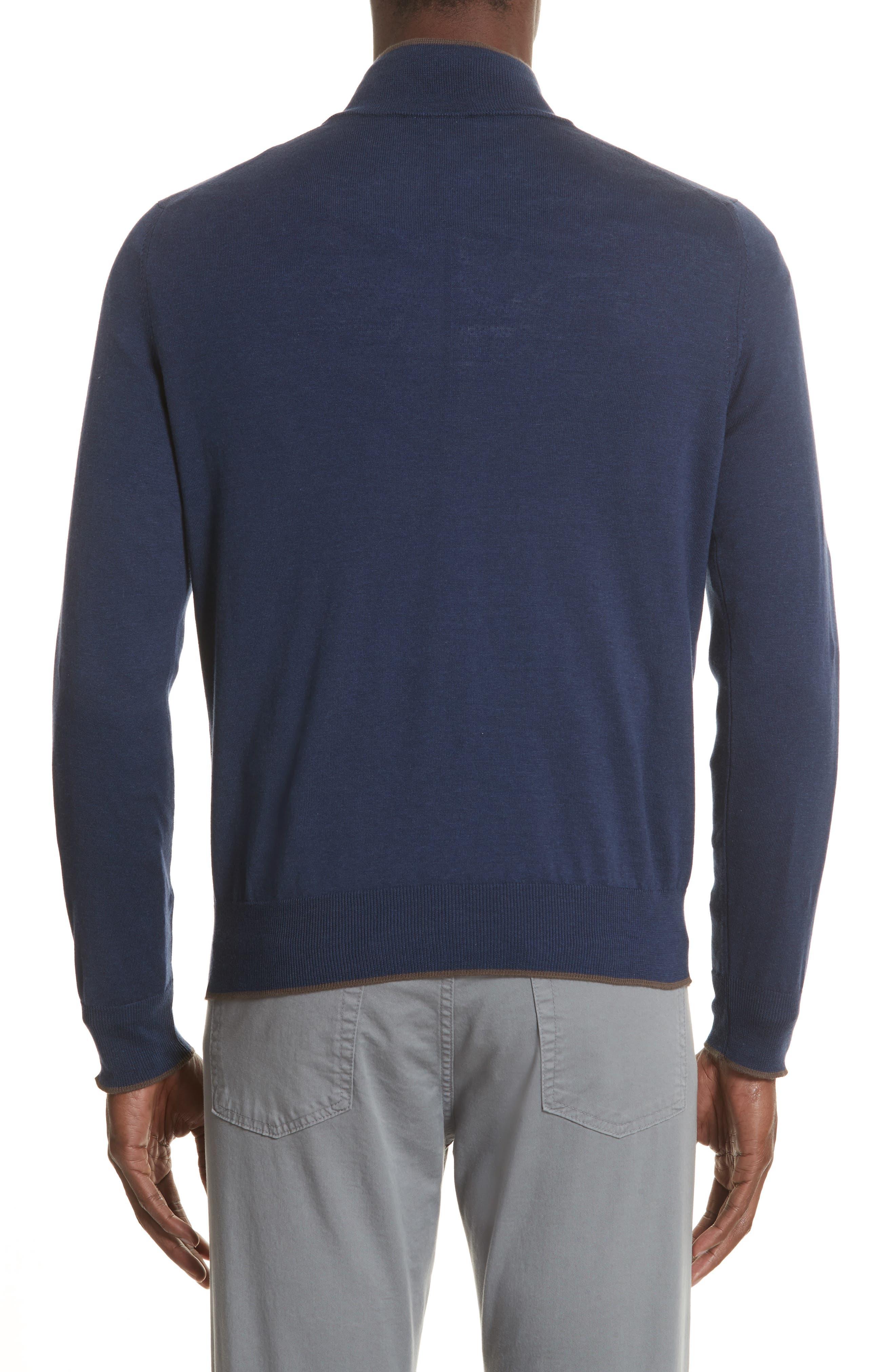 Quarter Zip Sweater,                             Alternate thumbnail 2, color,                             Dark Blue