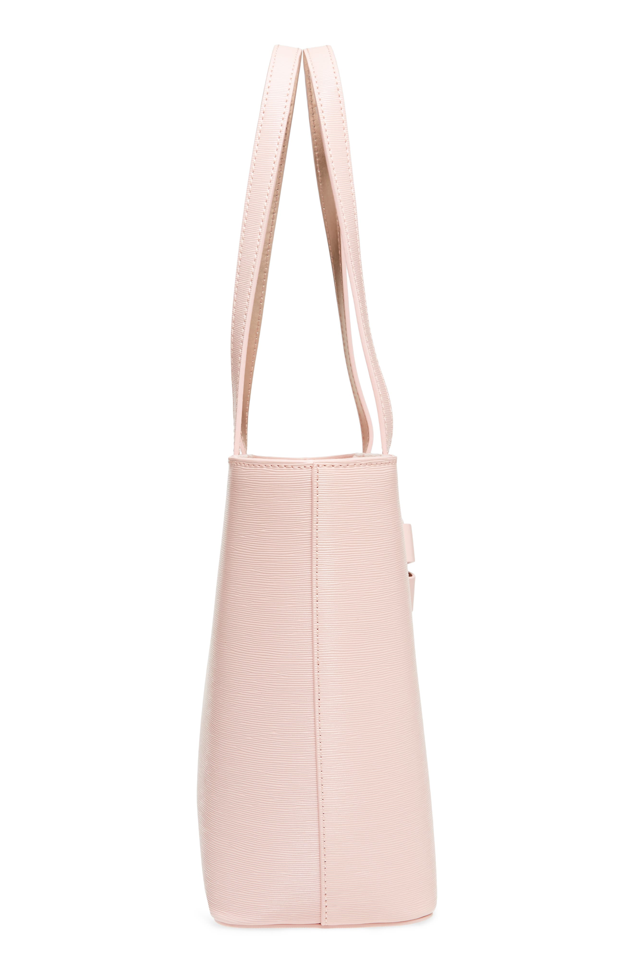 Small Bowmisa Leather Shopper & Pouch,                             Alternate thumbnail 5, color,                             Light Pink