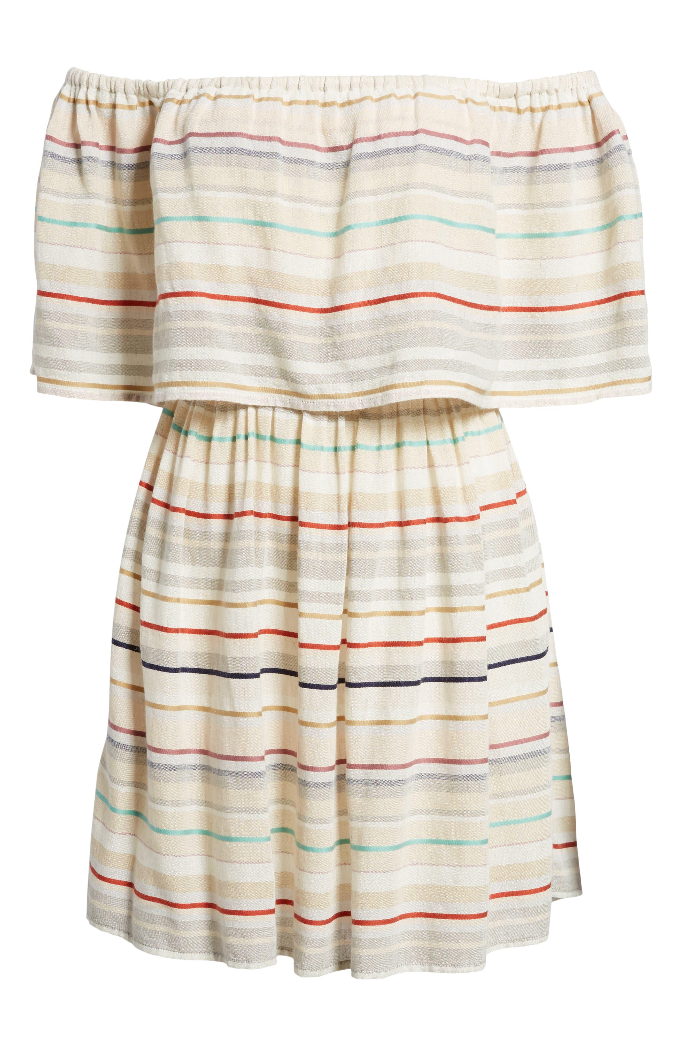 Stripe Off the Shoulder Dress,                             Alternate thumbnail 6, color,                             Beige Nougat Multi Stripe