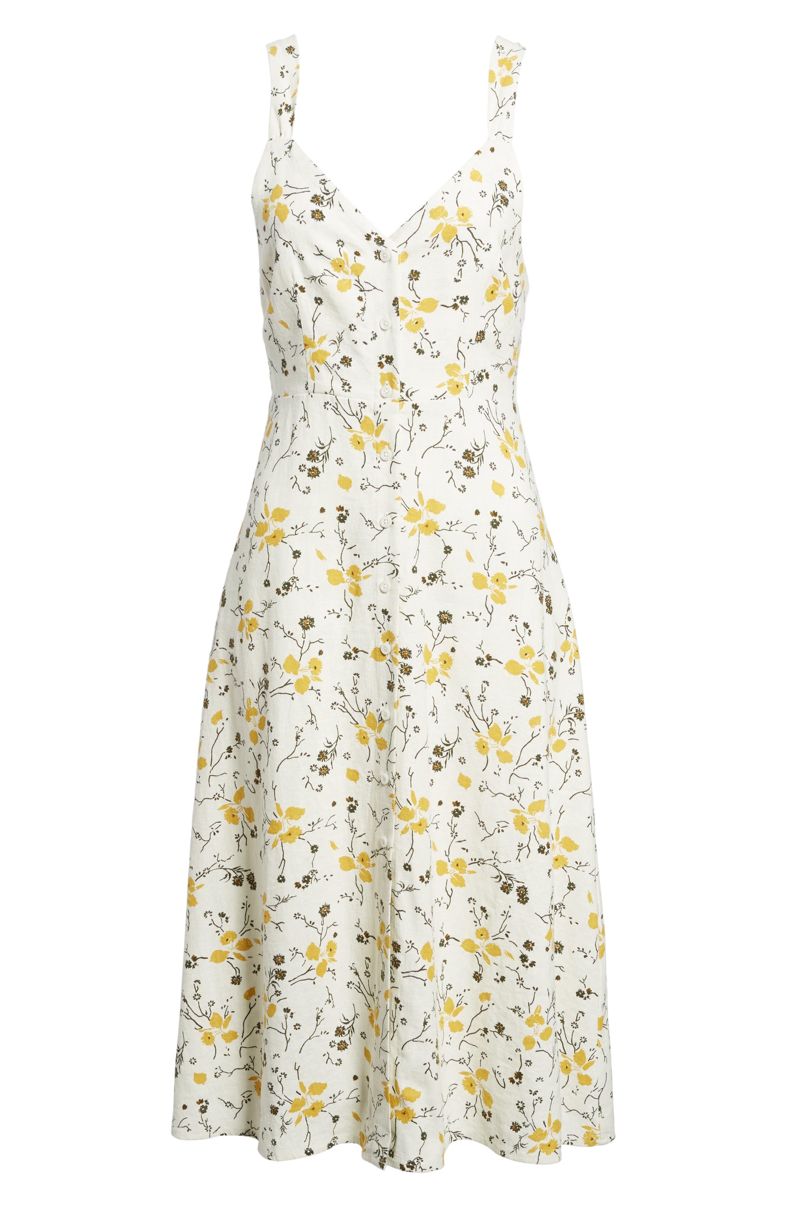 Floral Print Tie Back Midi Dress,                             Alternate thumbnail 6, color,                             Ivory Egret Redux Floral