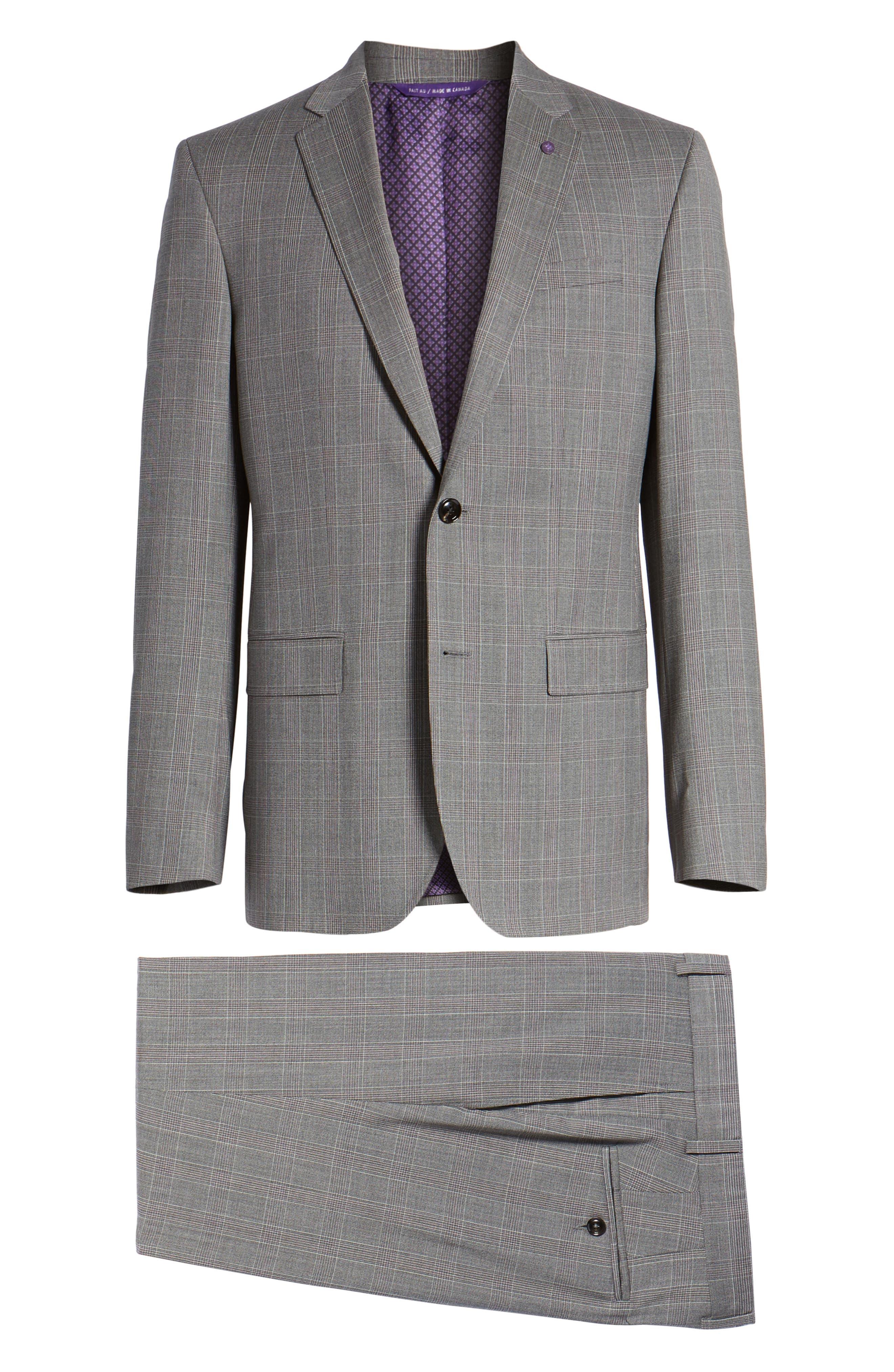 Jay Trim Fit Plaid Wool Suit,                             Alternate thumbnail 8, color,                             Grey