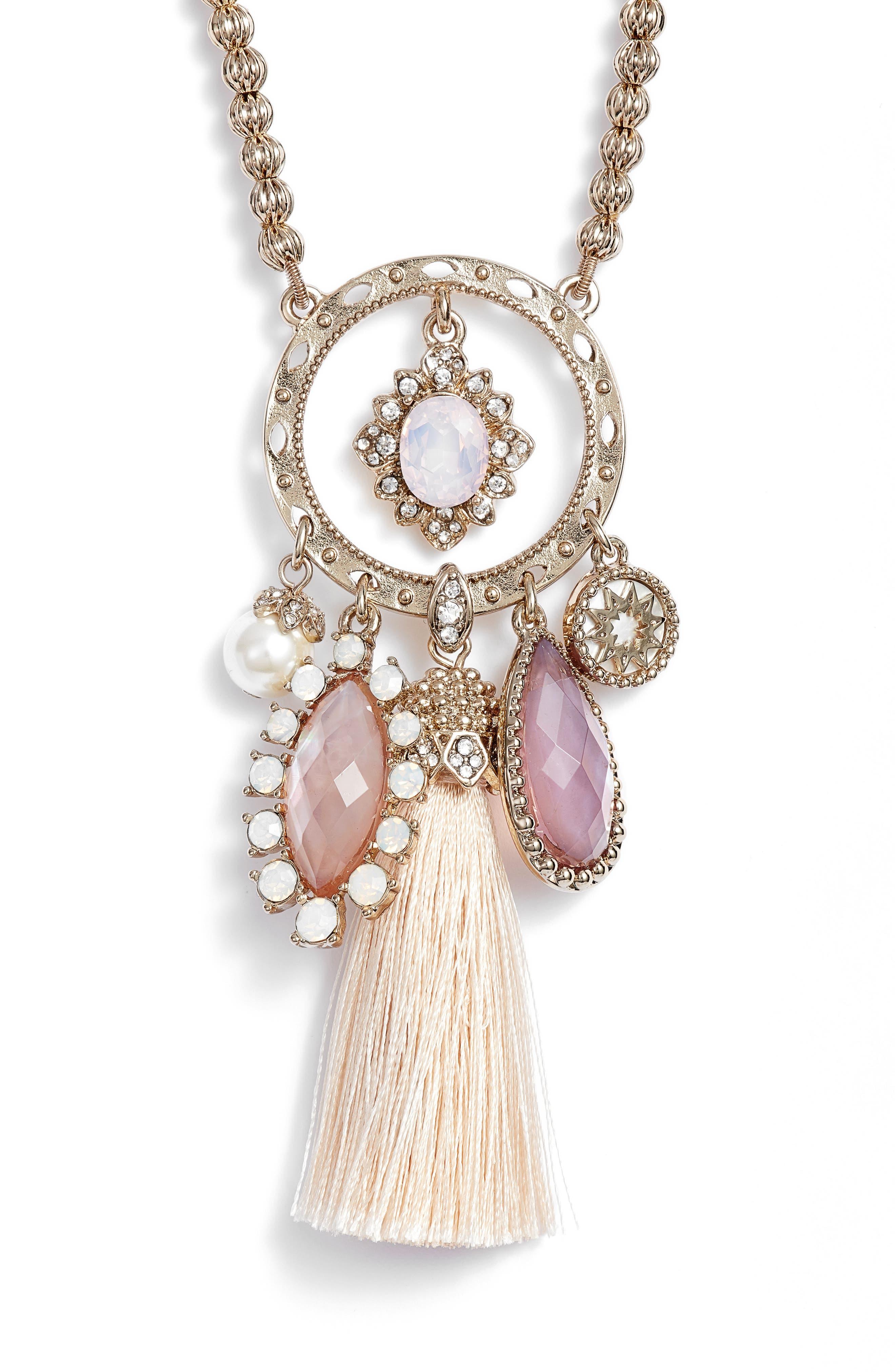 Tassel Pendant Necklace,                             Alternate thumbnail 2, color,                             Gold/ Blush Multi