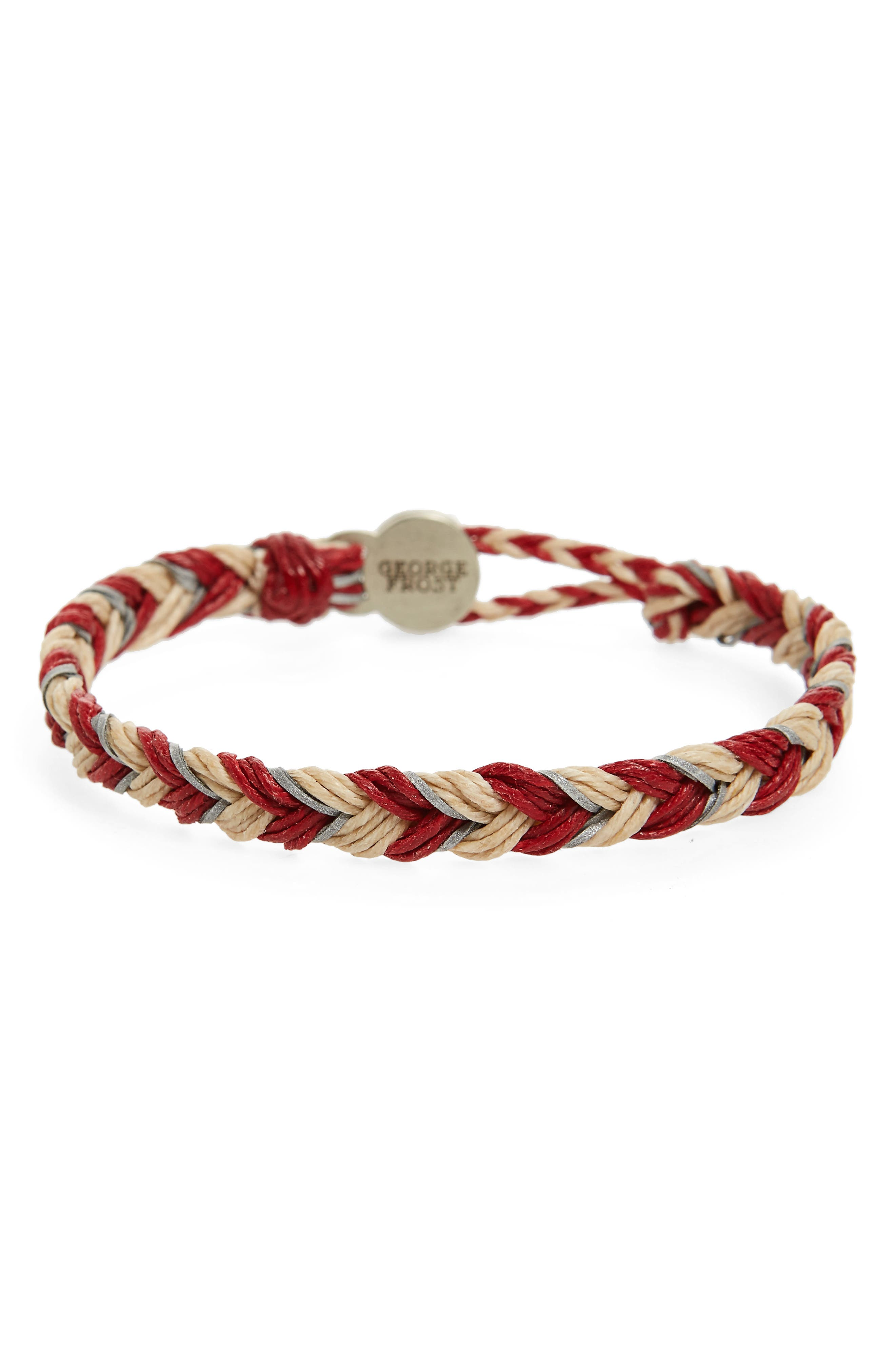 Waxed Woven Bracelet,                         Main,                         color, Red