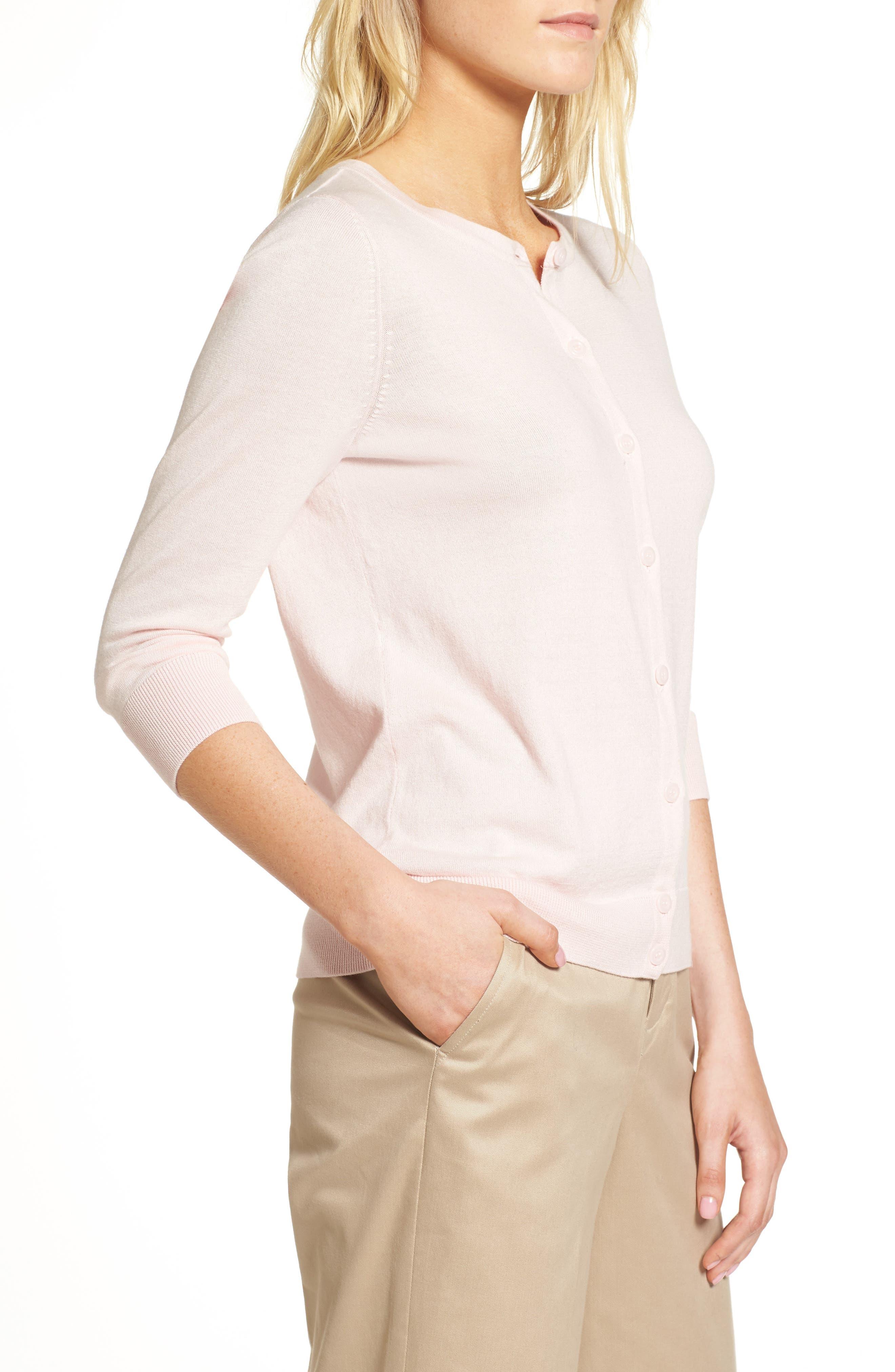 Cotton Blend Cardigan,                             Alternate thumbnail 4, color,                             Pink Potpourri