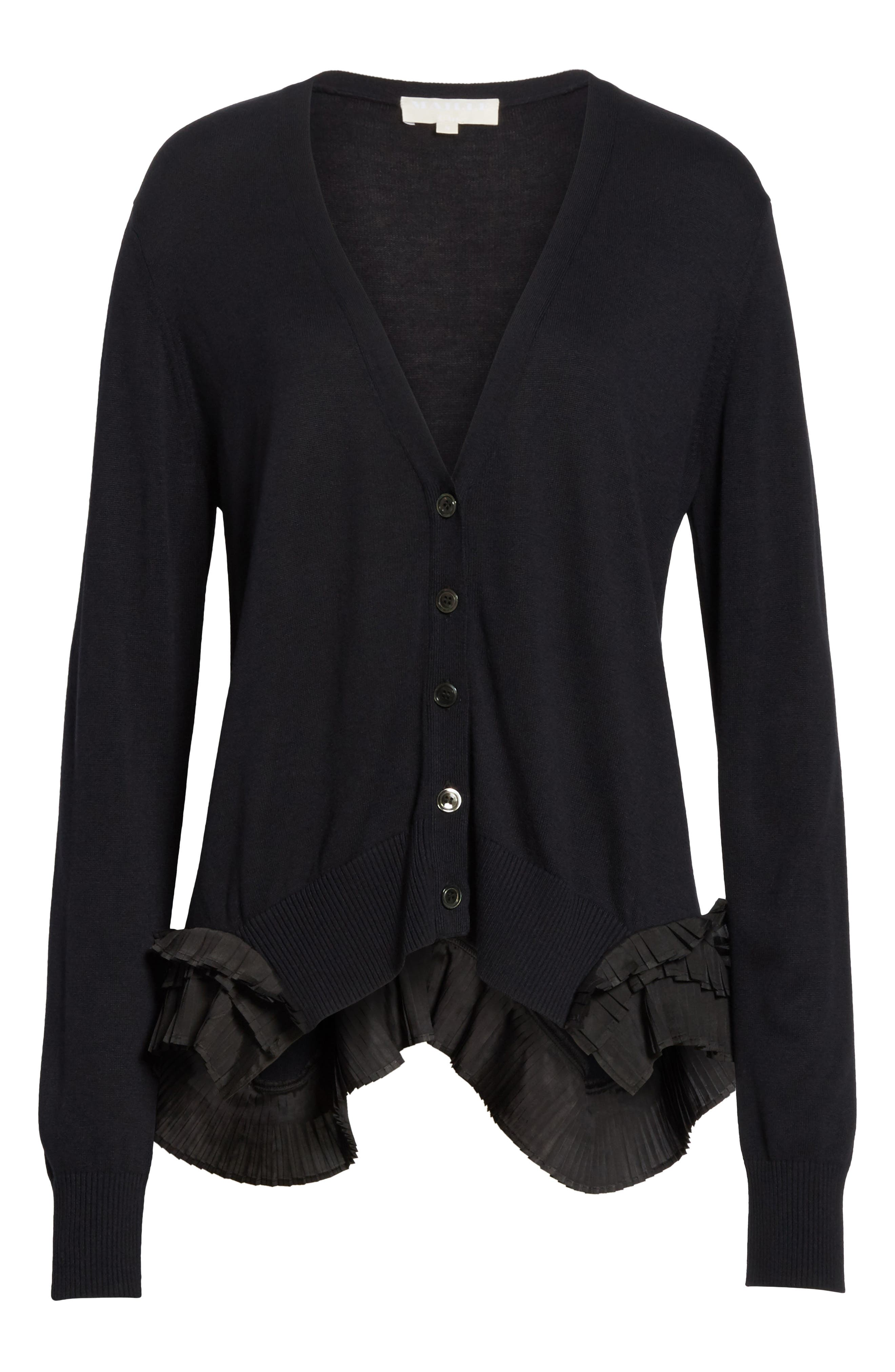 Pleat Ruffle Trim Cardigan,                             Alternate thumbnail 6, color,                             Black