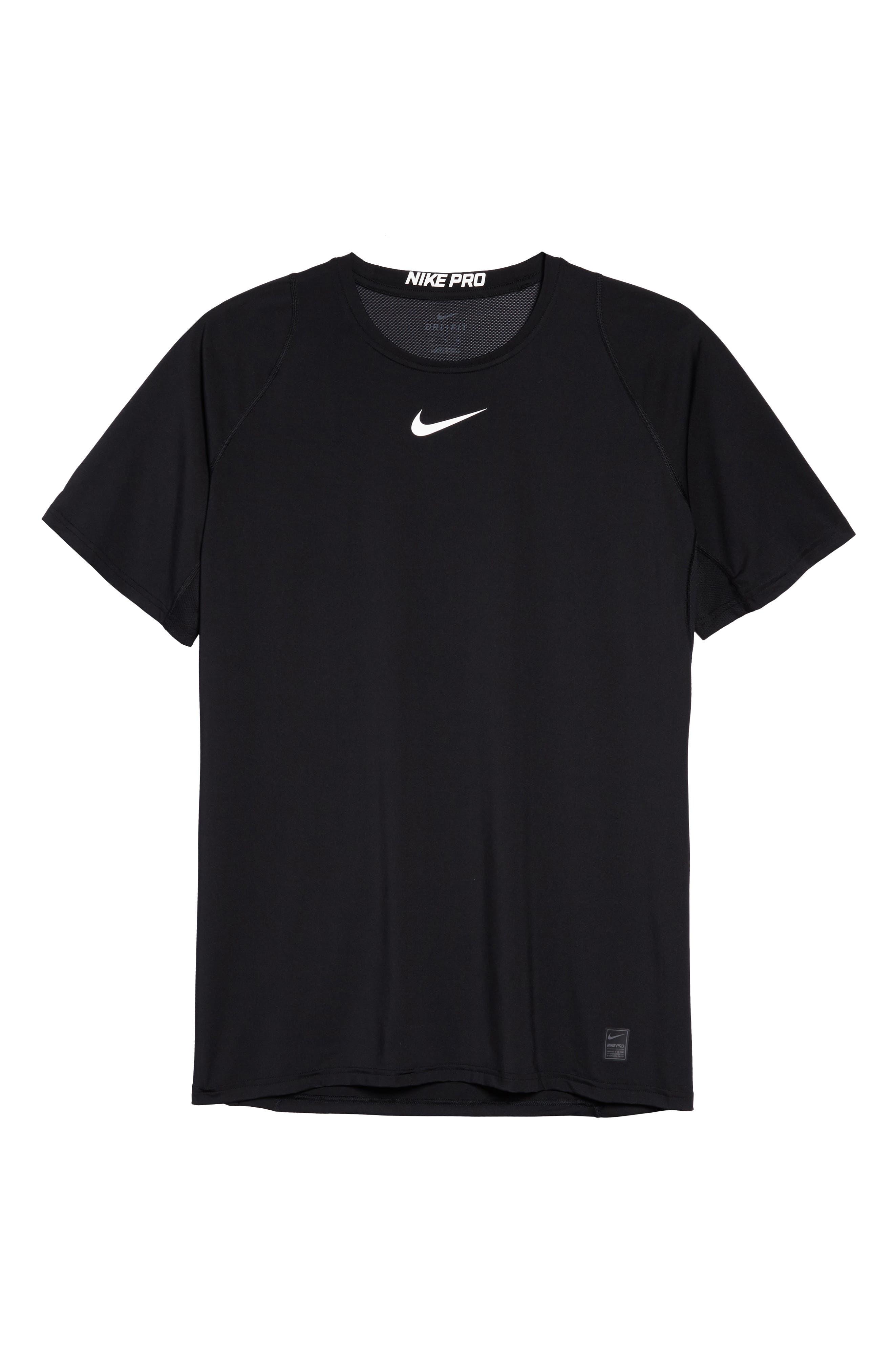 Pro Fitted T-Shirt,                             Alternate thumbnail 6, color,                             Black/White/White