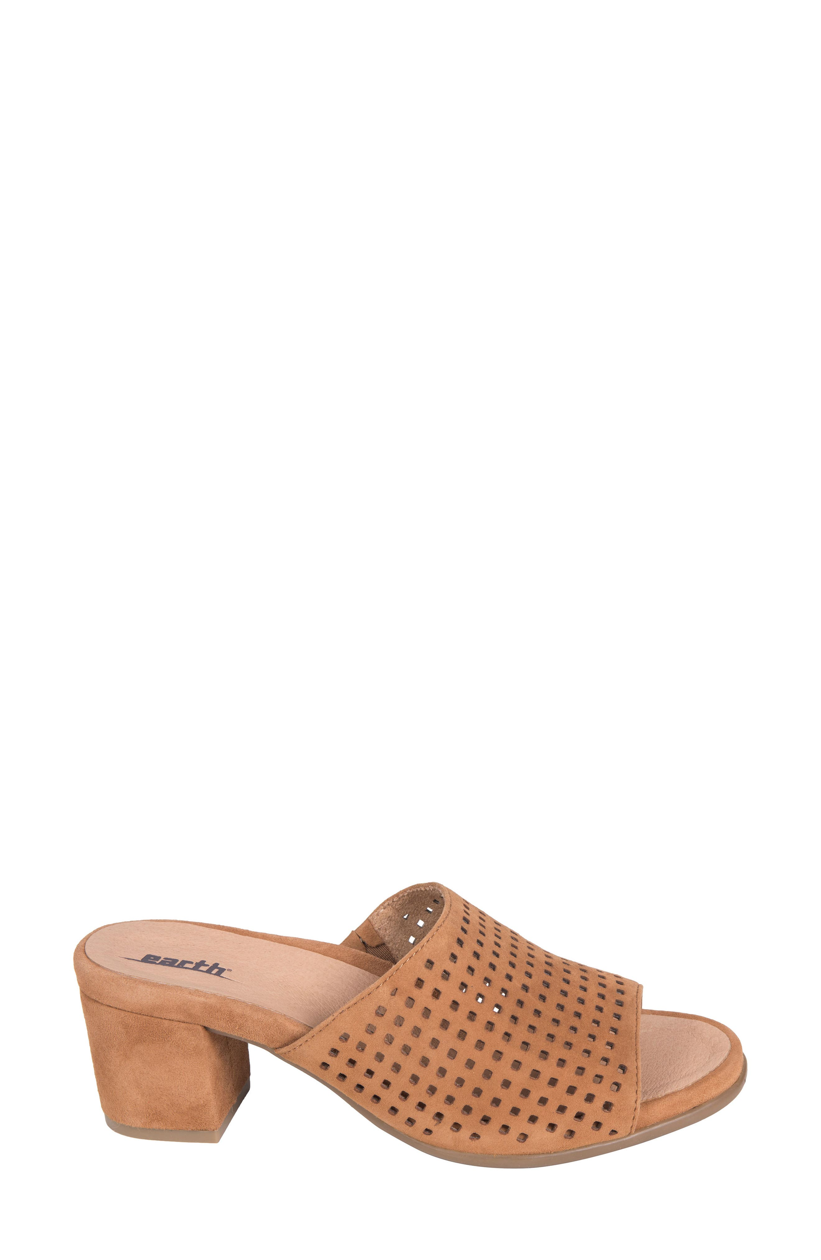 Ibiza Perforated Sandal,                             Alternate thumbnail 3, color,                             Amber Suede