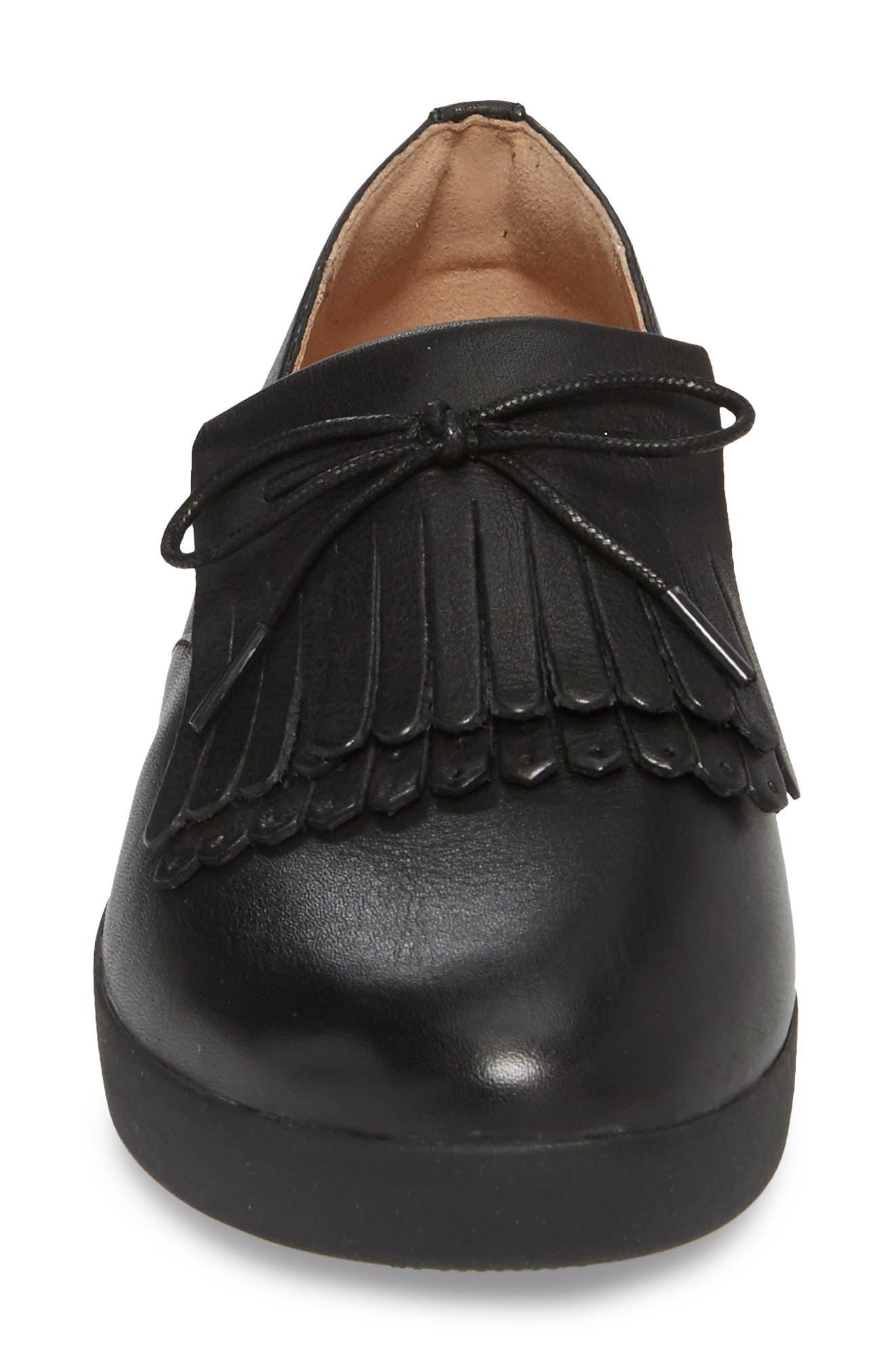 Superskate Fringe Loafer,                             Alternate thumbnail 4, color,                             Black
