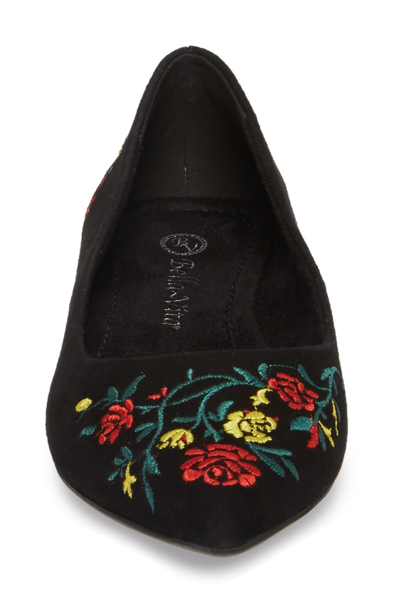 Vesper Embroidered Flat,                             Alternate thumbnail 4, color,                             Black Suede