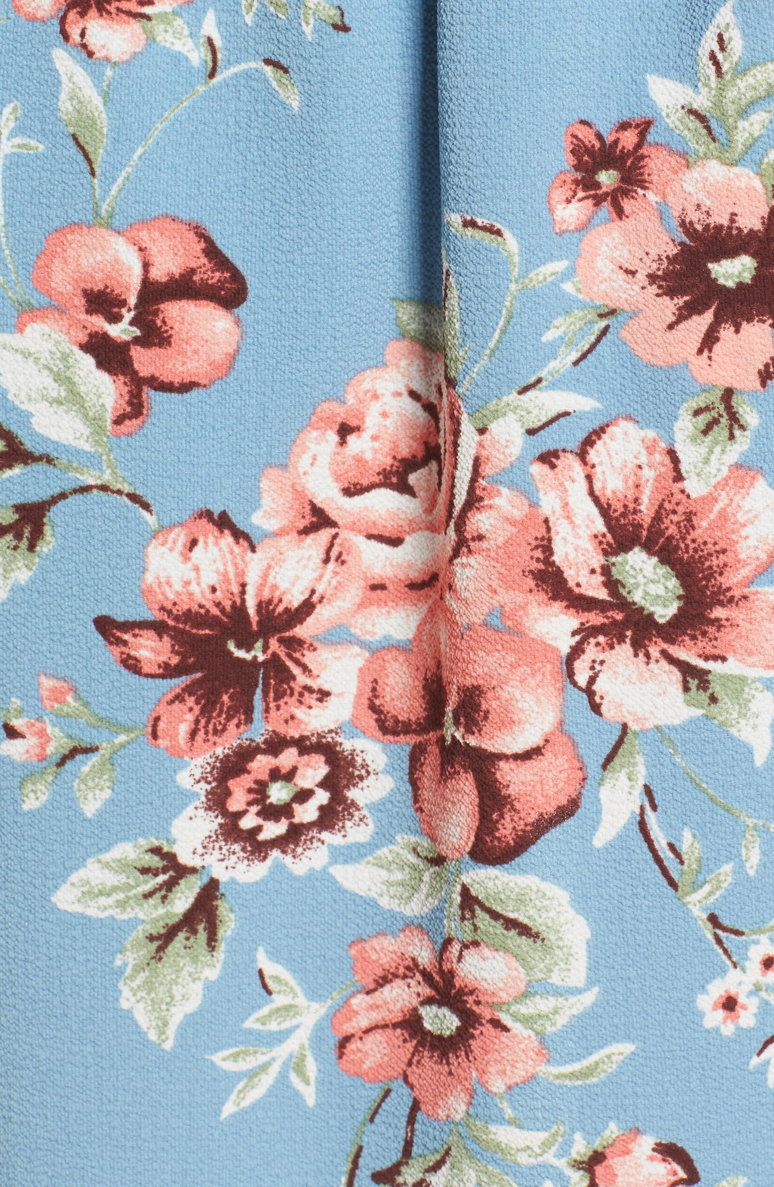 Off the Shoulder Maxi Romper,                             Alternate thumbnail 5, color,                             Blue Floral