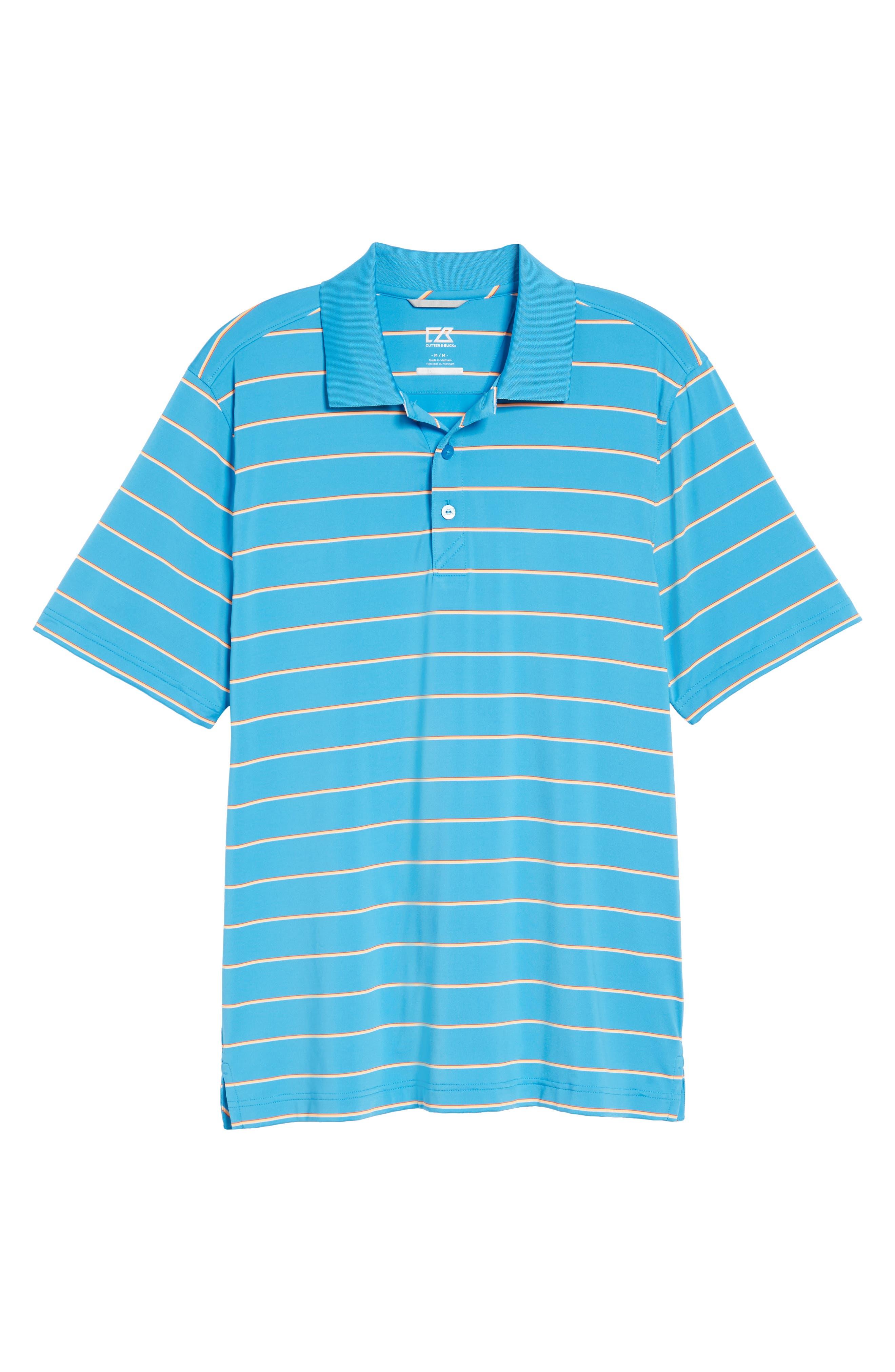 Stripe DryTec Polo,                         Main,                         color, Poolside/ Clarity