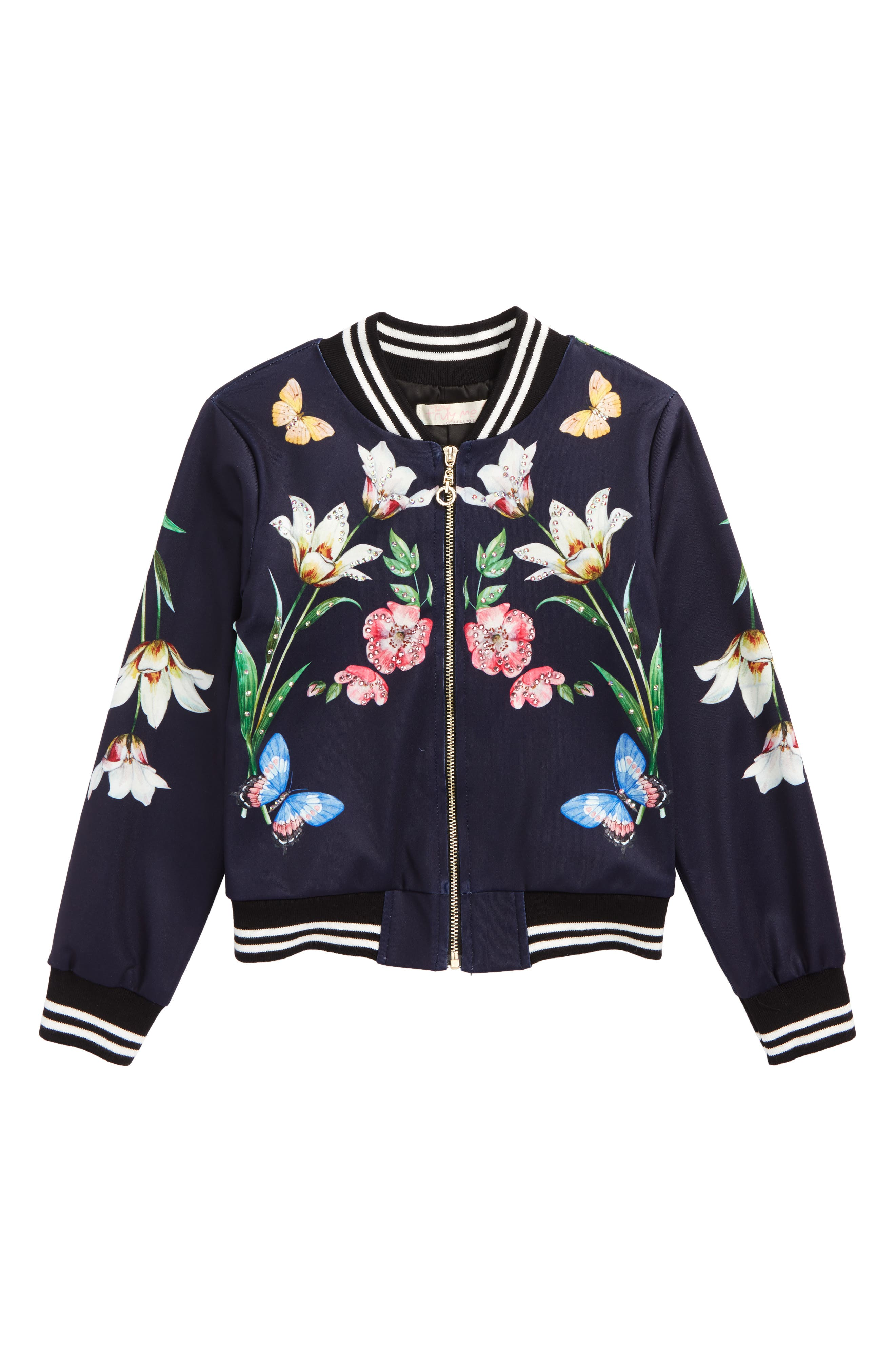 Print Bomber Jacket,                         Main,                         color, Navy Multi