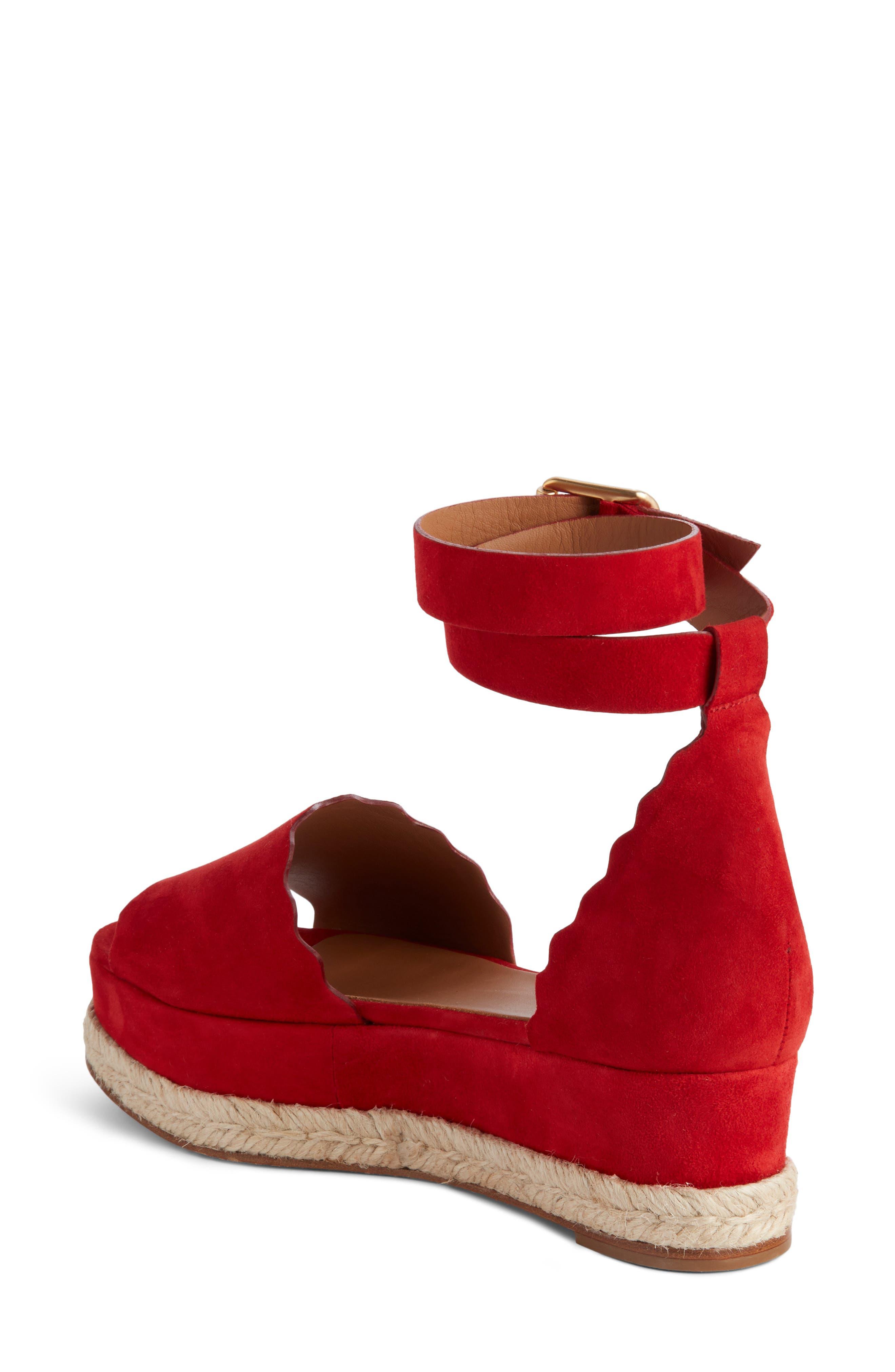 Lauren Espadrille Wedge Sandal,                             Alternate thumbnail 2, color,                             Red Flame