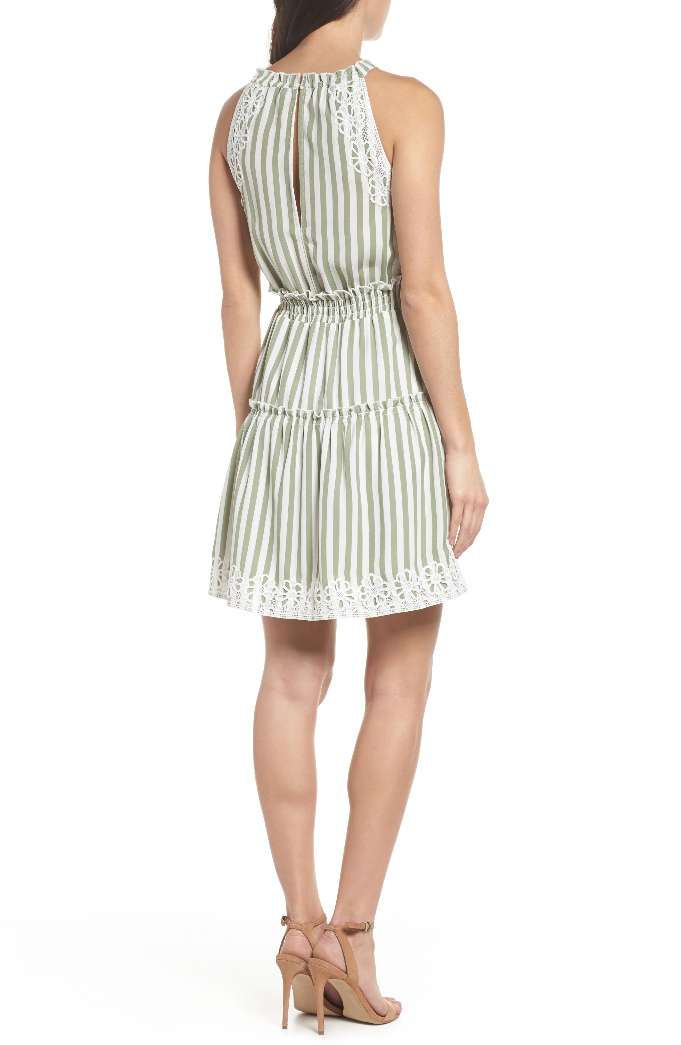 Lauren Stripe Sleeveless Fit & Flare Dress,                             Alternate thumbnail 2, color,                             Sage