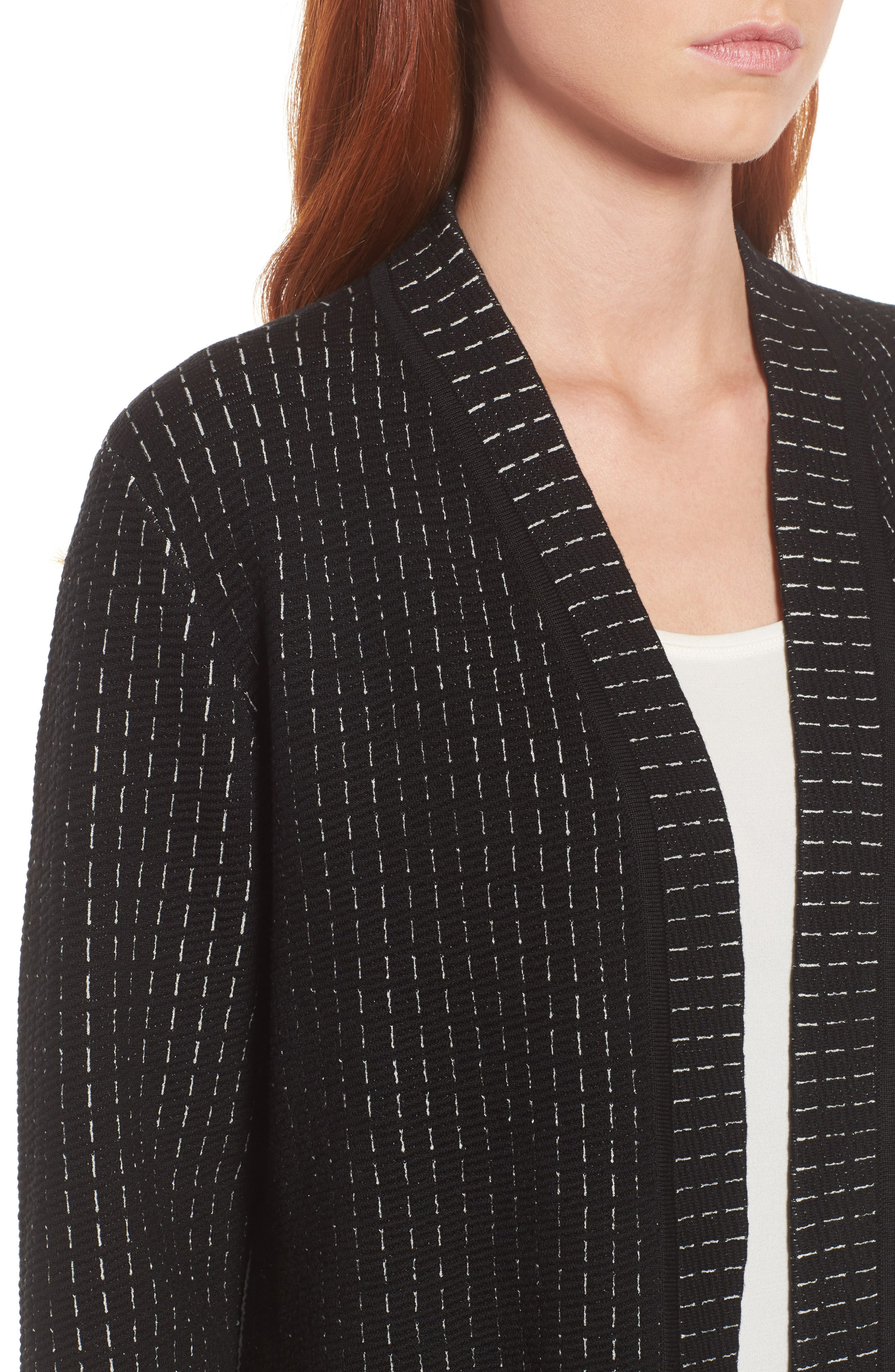 Simple Shaped Silk Blend Cardigan,                             Alternate thumbnail 4, color,                             Black