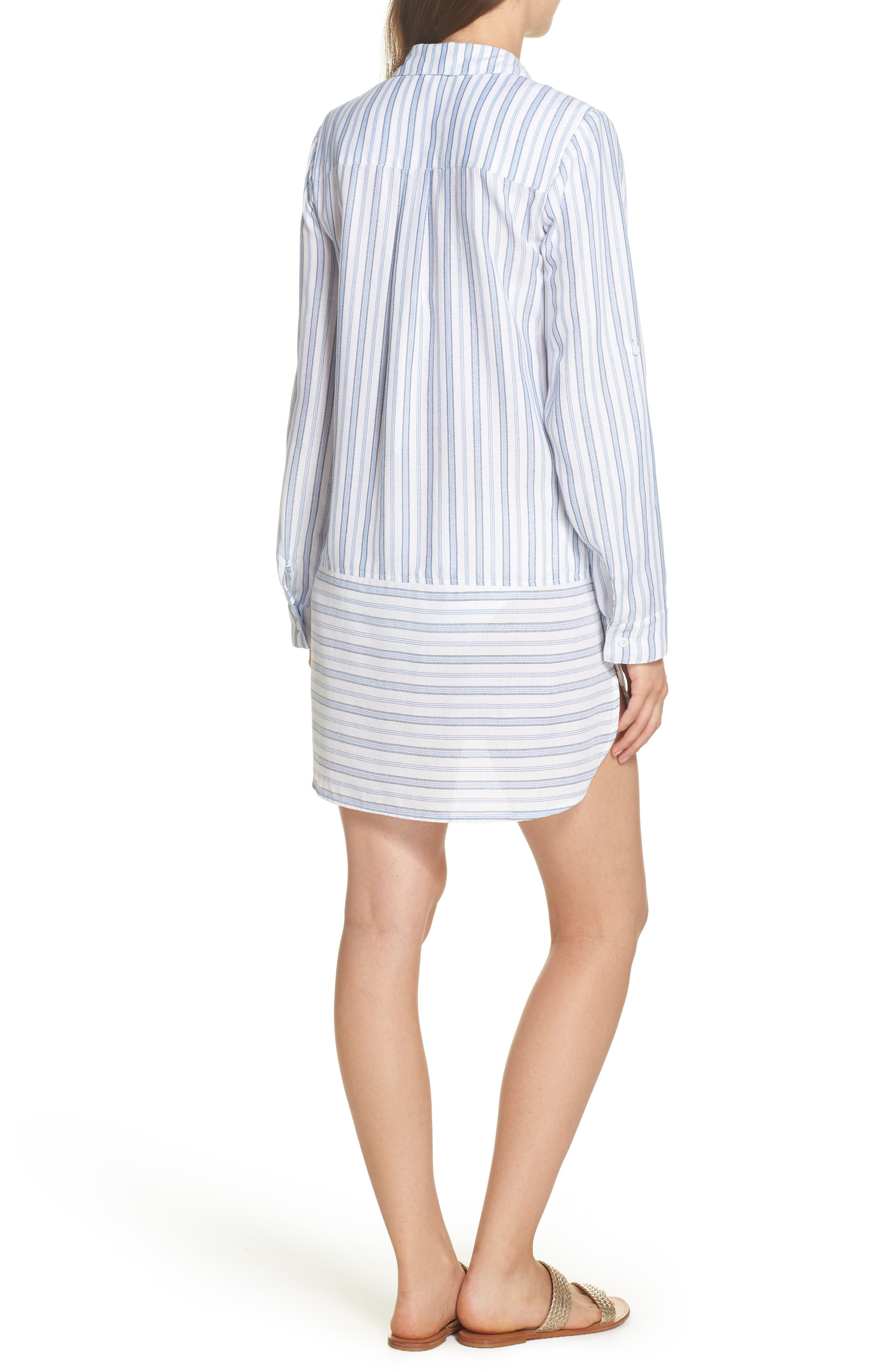 Ticking Stripe Cover-Up Shirtdress,                             Alternate thumbnail 2, color,                             White