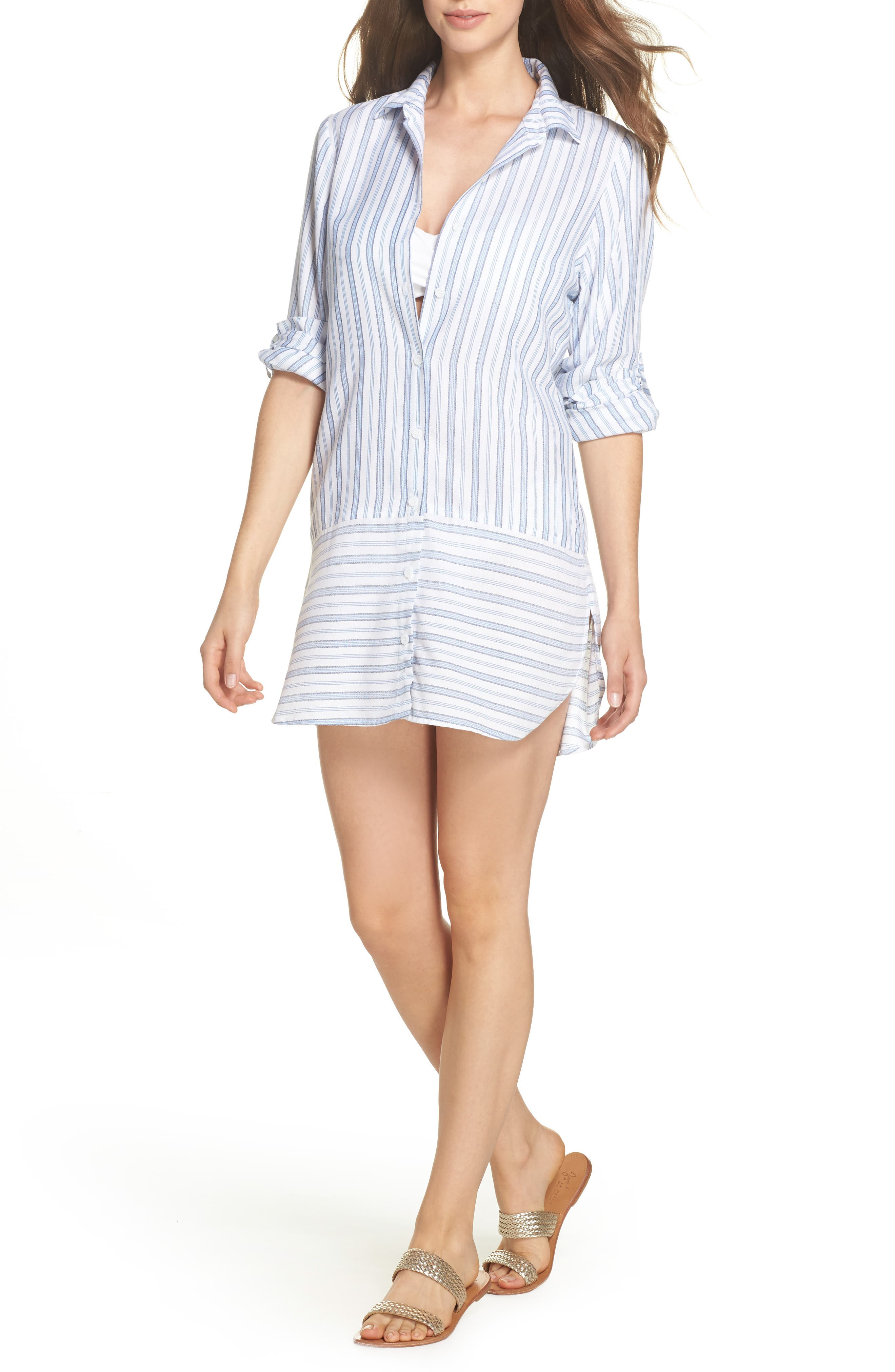 Ticking Stripe Cover-Up Shirtdress,                             Main thumbnail 1, color,                             White