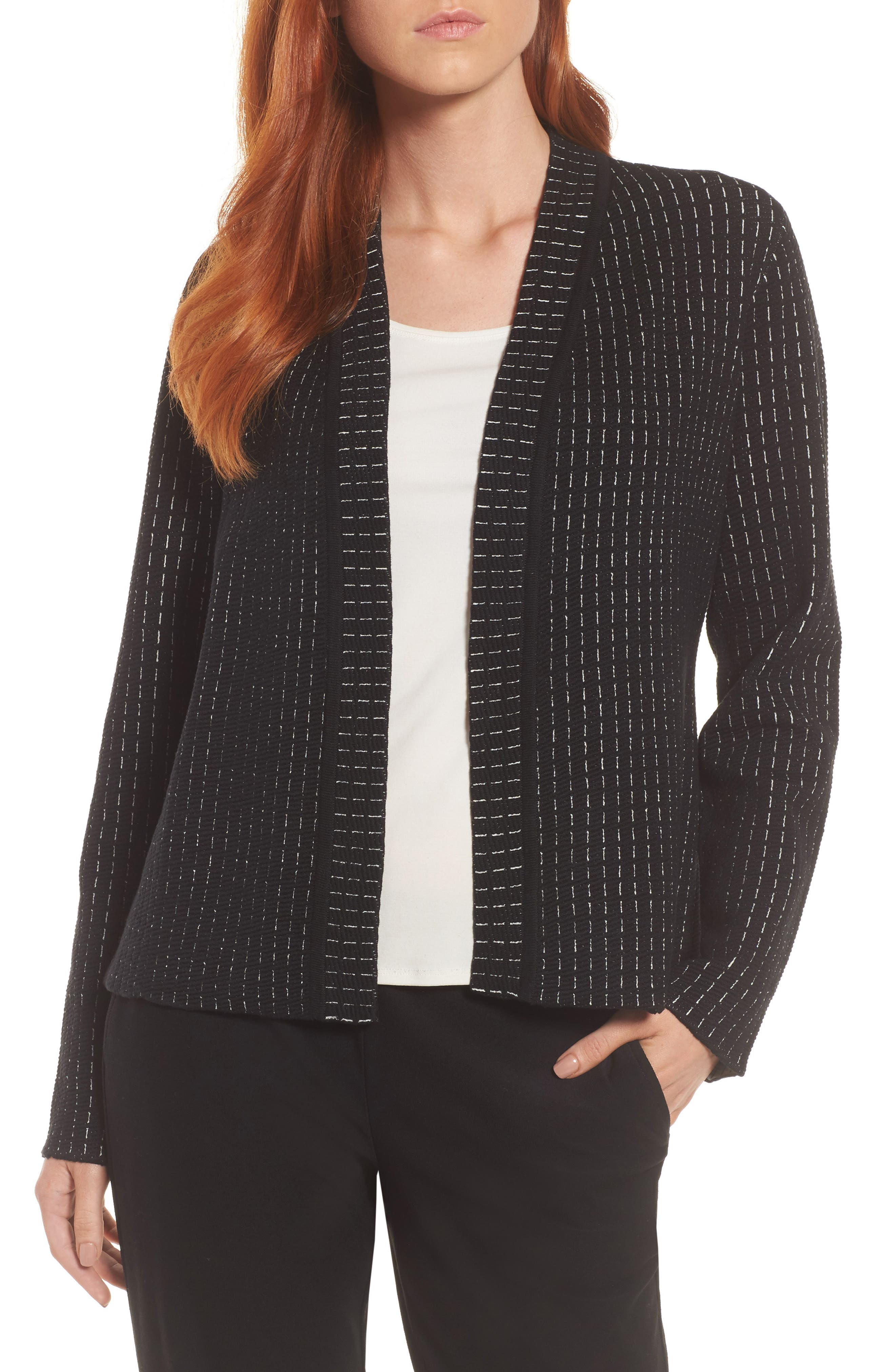 Simple Shaped Silk Blend Cardigan,                             Main thumbnail 1, color,                             Black