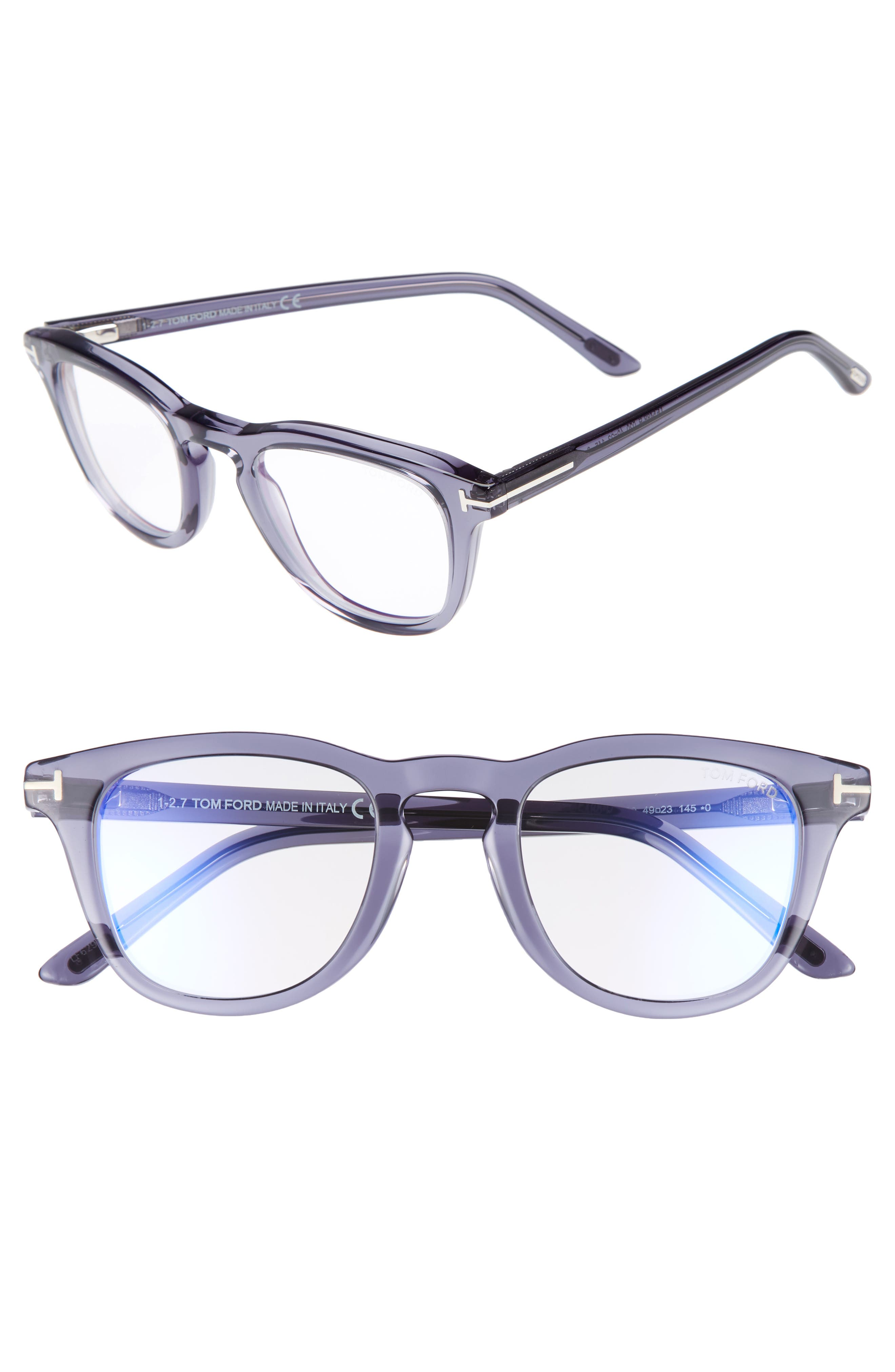 8da252b85a1f Tom Ford Blue Block Semitransparent Acetate Square Optical Frames In Shiny  Transparent Grey  Blue