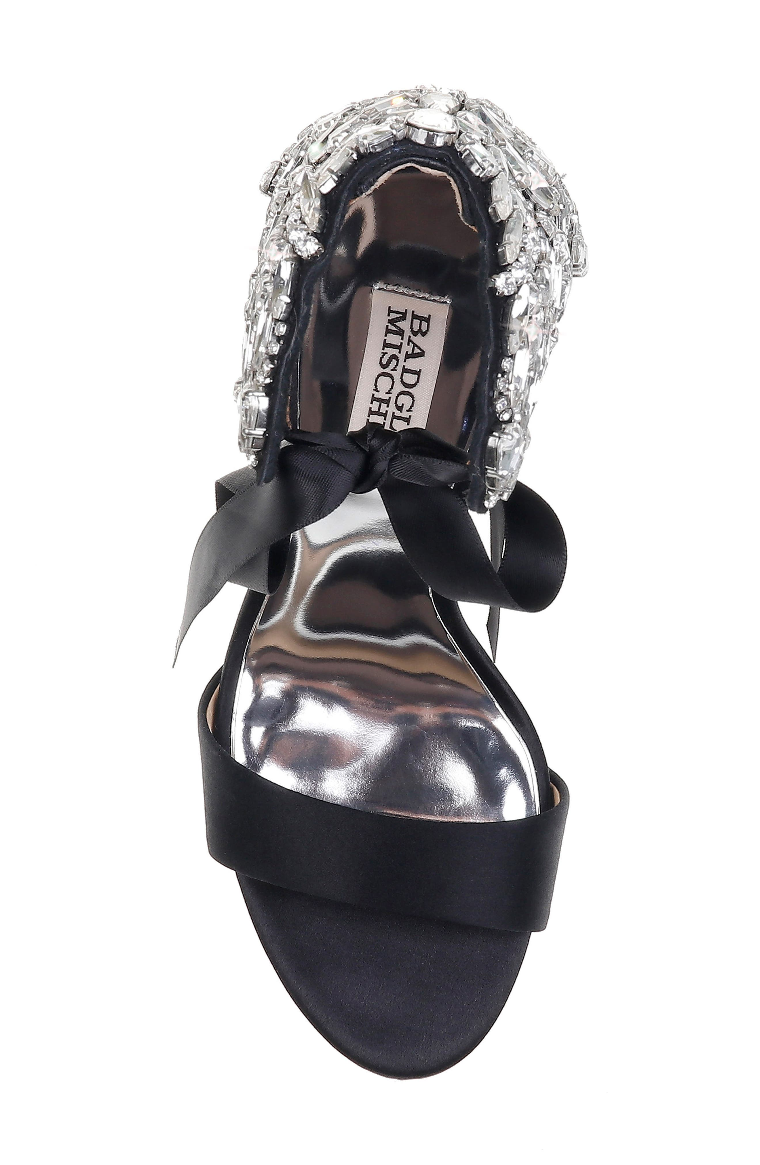 Hilda Crystal Embellished Sandal,                             Alternate thumbnail 5, color,                             Black Satin
