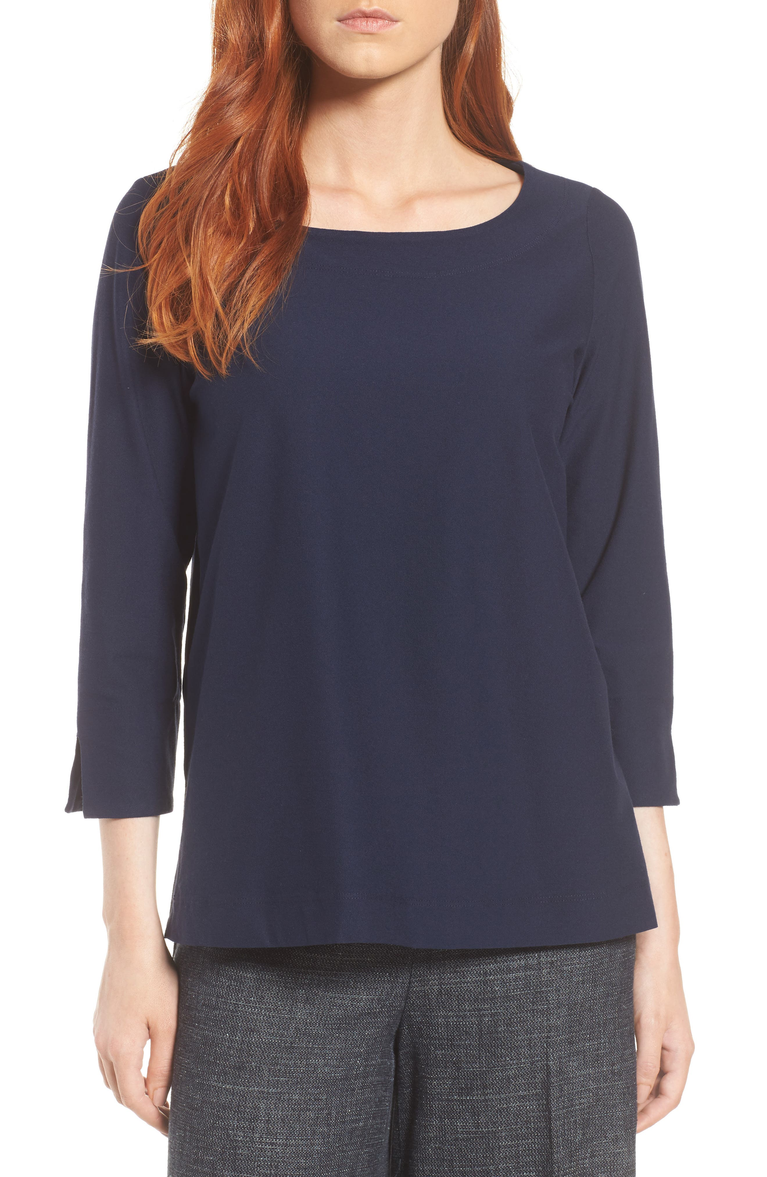 Boxy Jersey Top,                         Main,                         color, Midnight