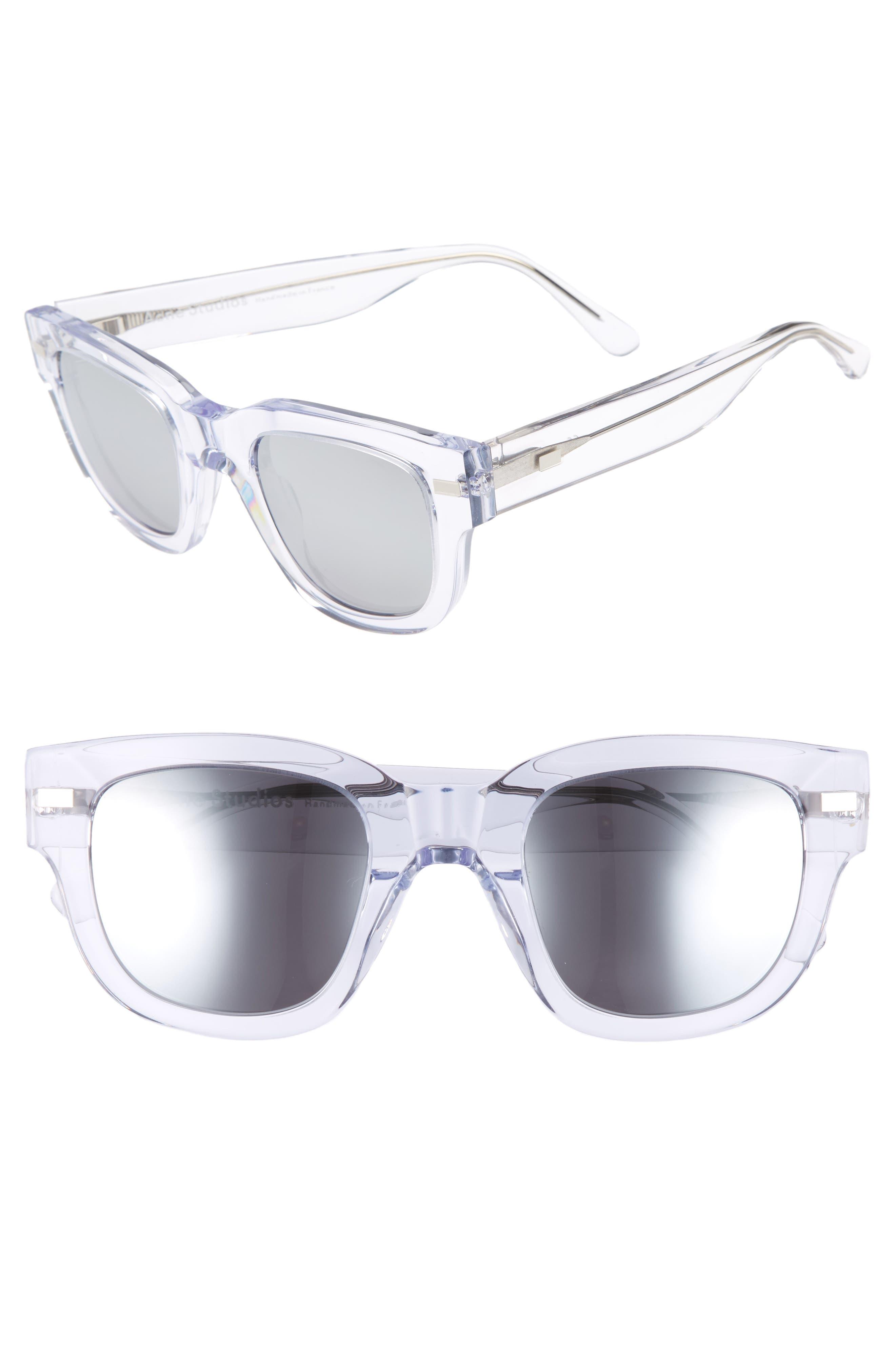 47mm Sunglasses,                             Main thumbnail 1, color,                             Clear/ Silver Mirror