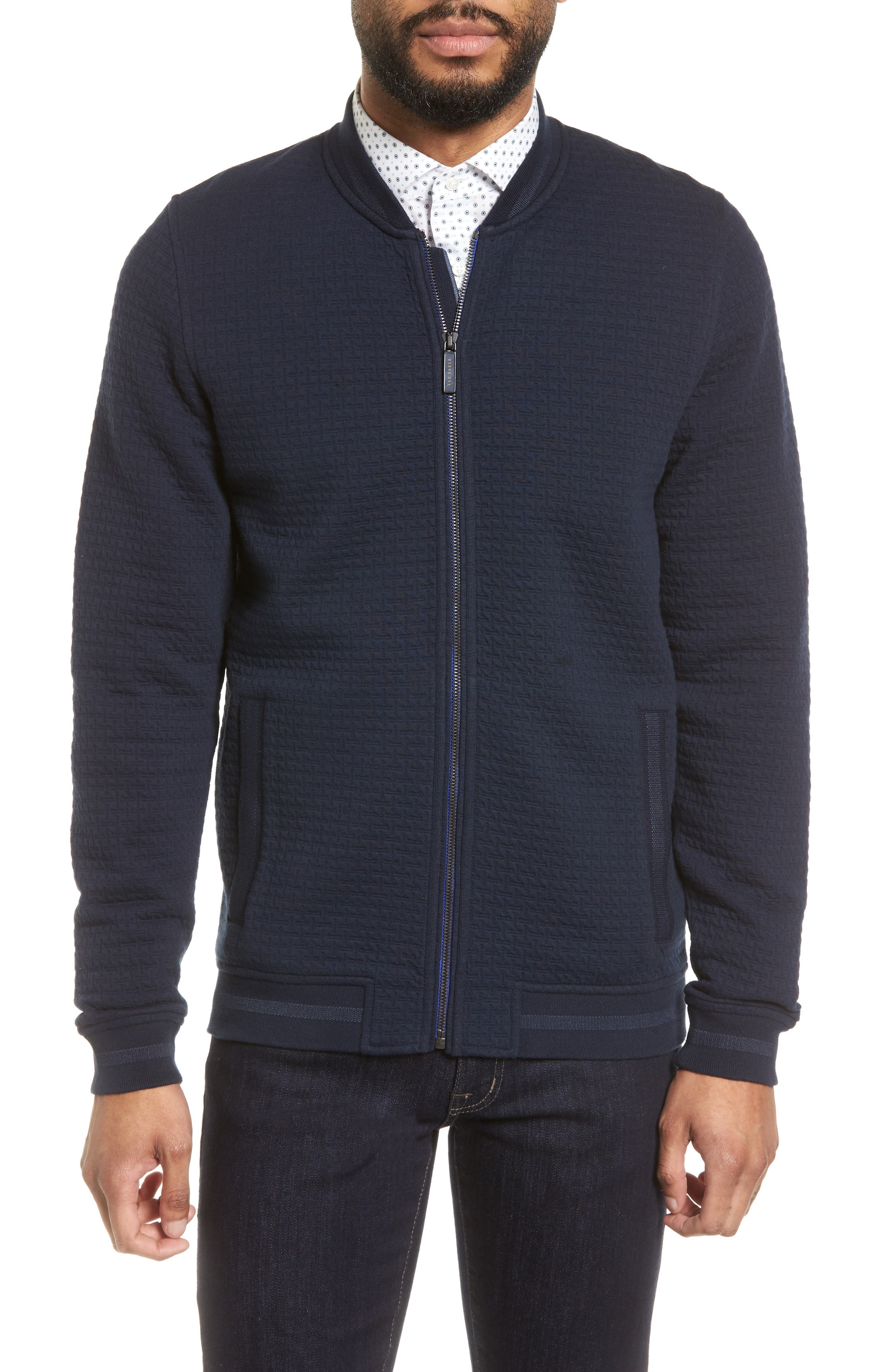 Akitaa Quilted Jacquard Bomber Jacket,                         Main,                         color, Navy