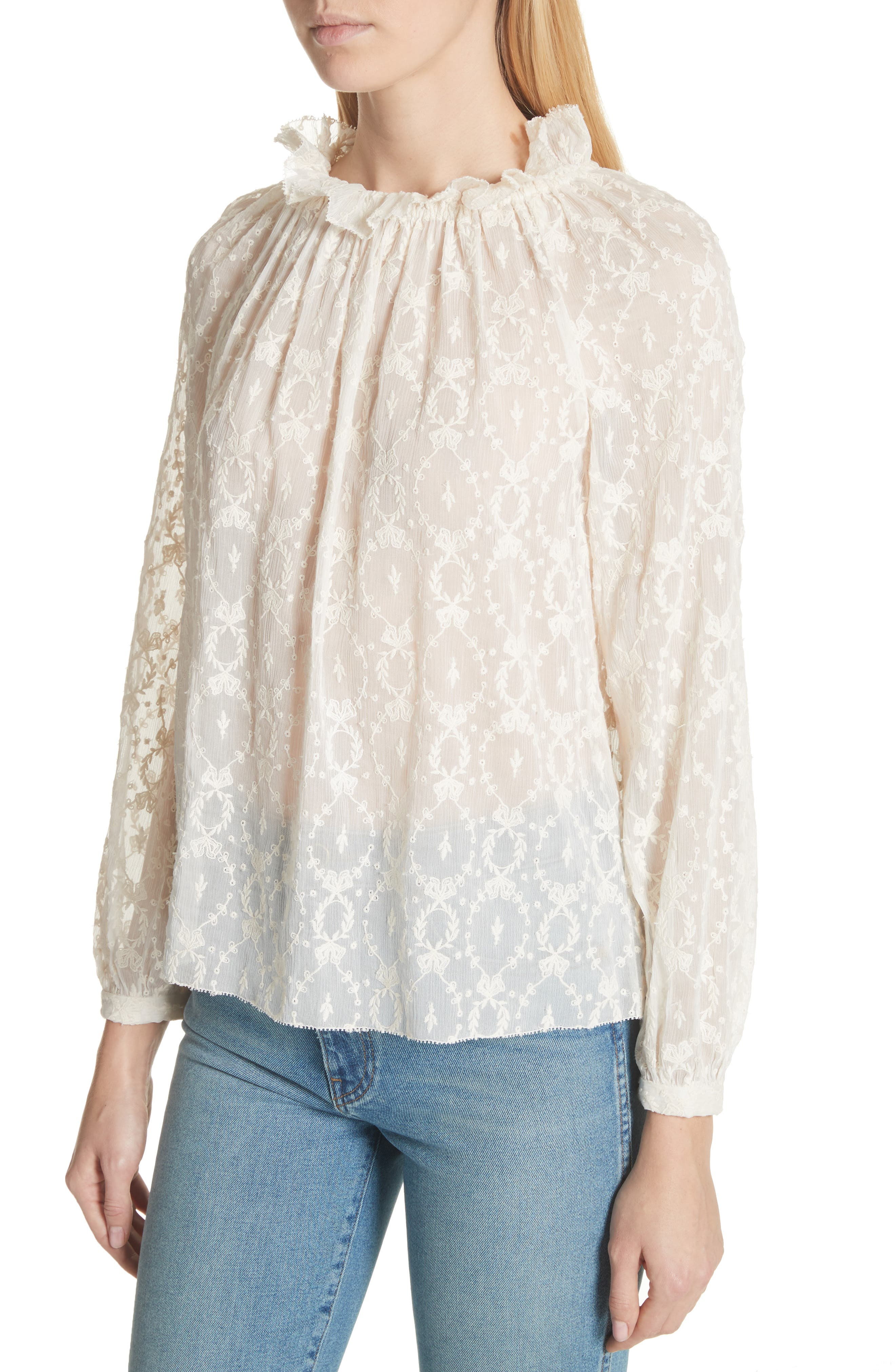 Lily Embroidered Silk Top,                             Alternate thumbnail 4, color,                             Snow