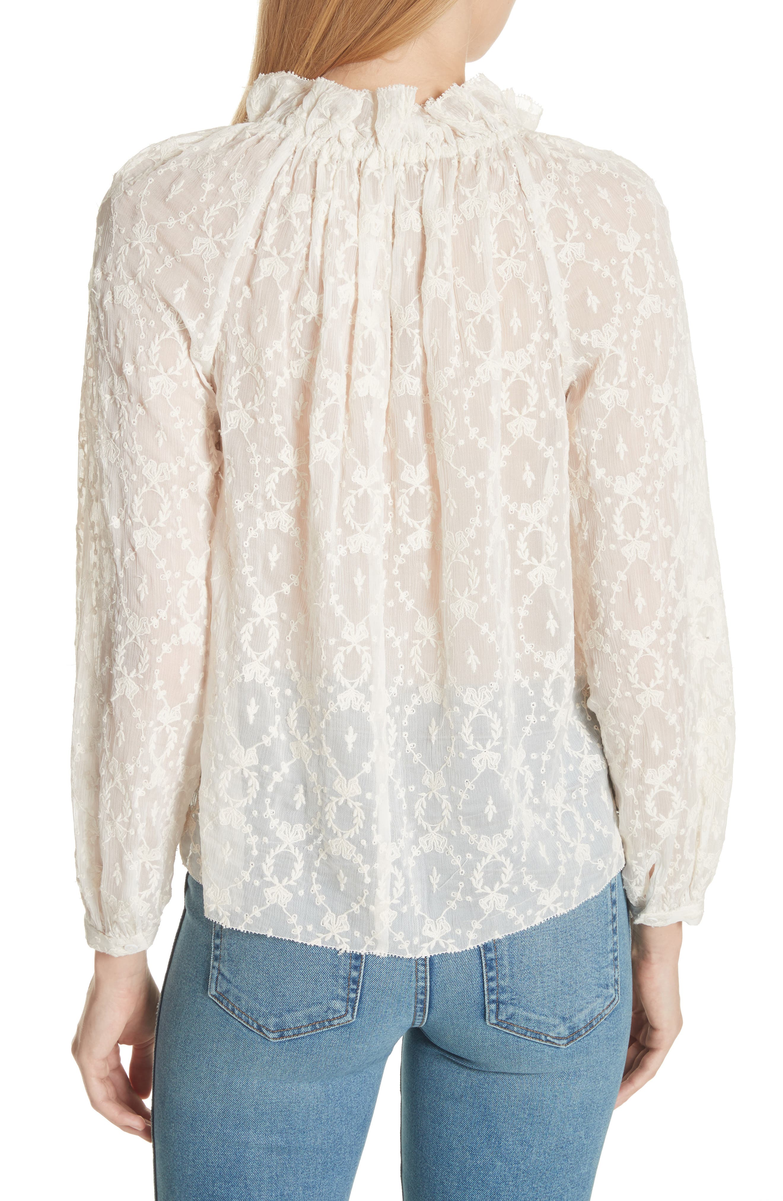 Lily Embroidered Silk Top,                             Alternate thumbnail 2, color,                             Snow