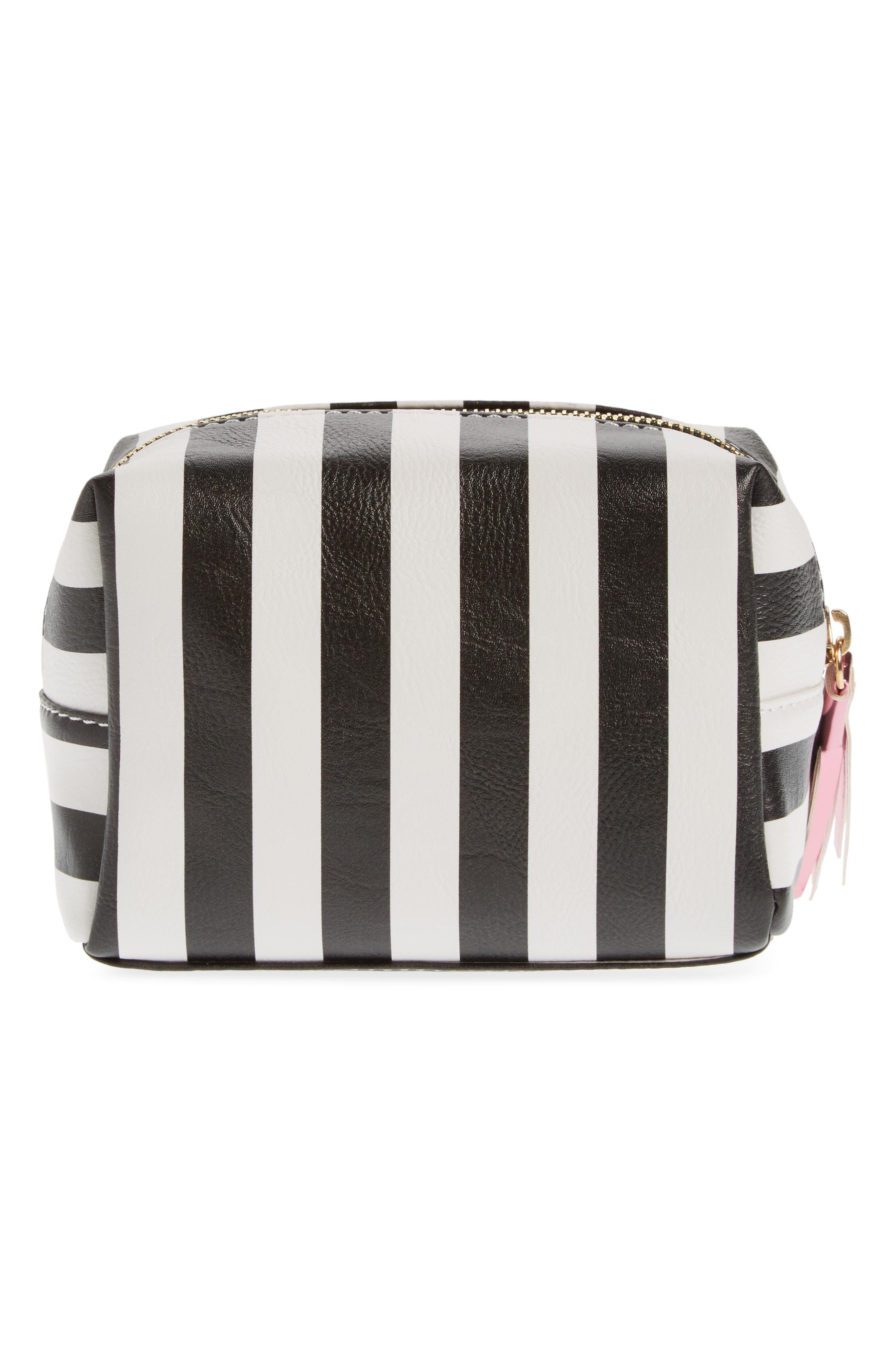 Metallic Lip Stripe Cosmetics Bag,                             Alternate thumbnail 2, color,                             Black/ White