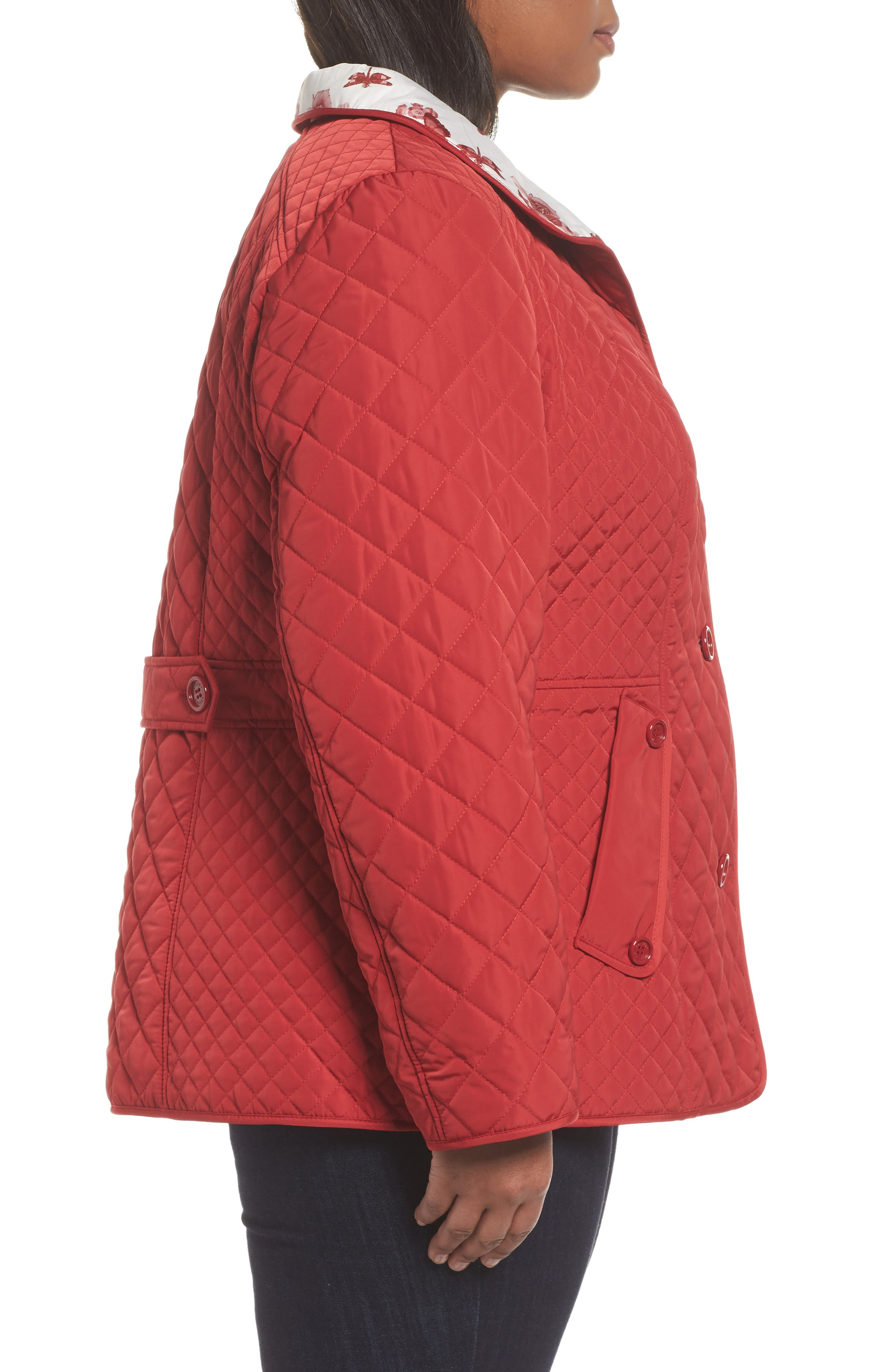 Print Collar Quilted Jacket,                             Alternate thumbnail 3, color,                             Tomato Red