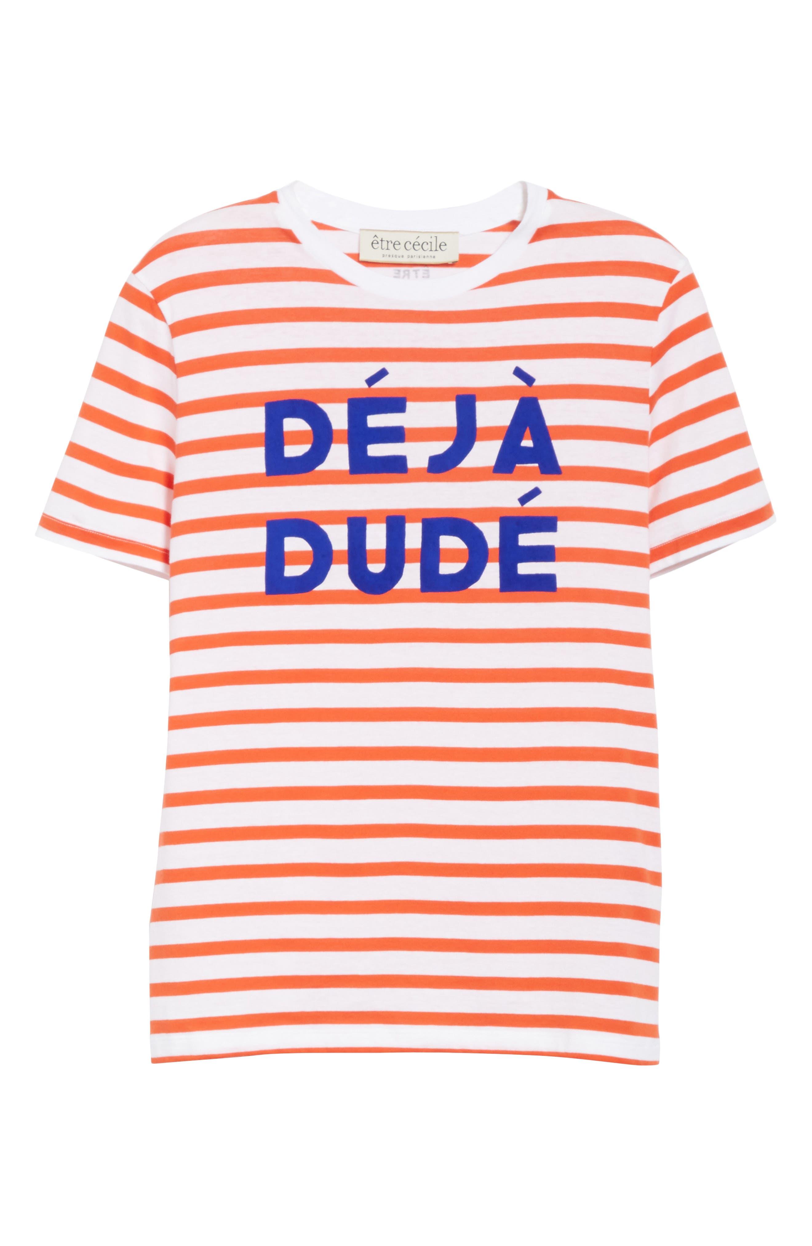 être cécile Déjà Dudé Tee,                             Alternate thumbnail 6, color,                             Tomato Breton Stripe