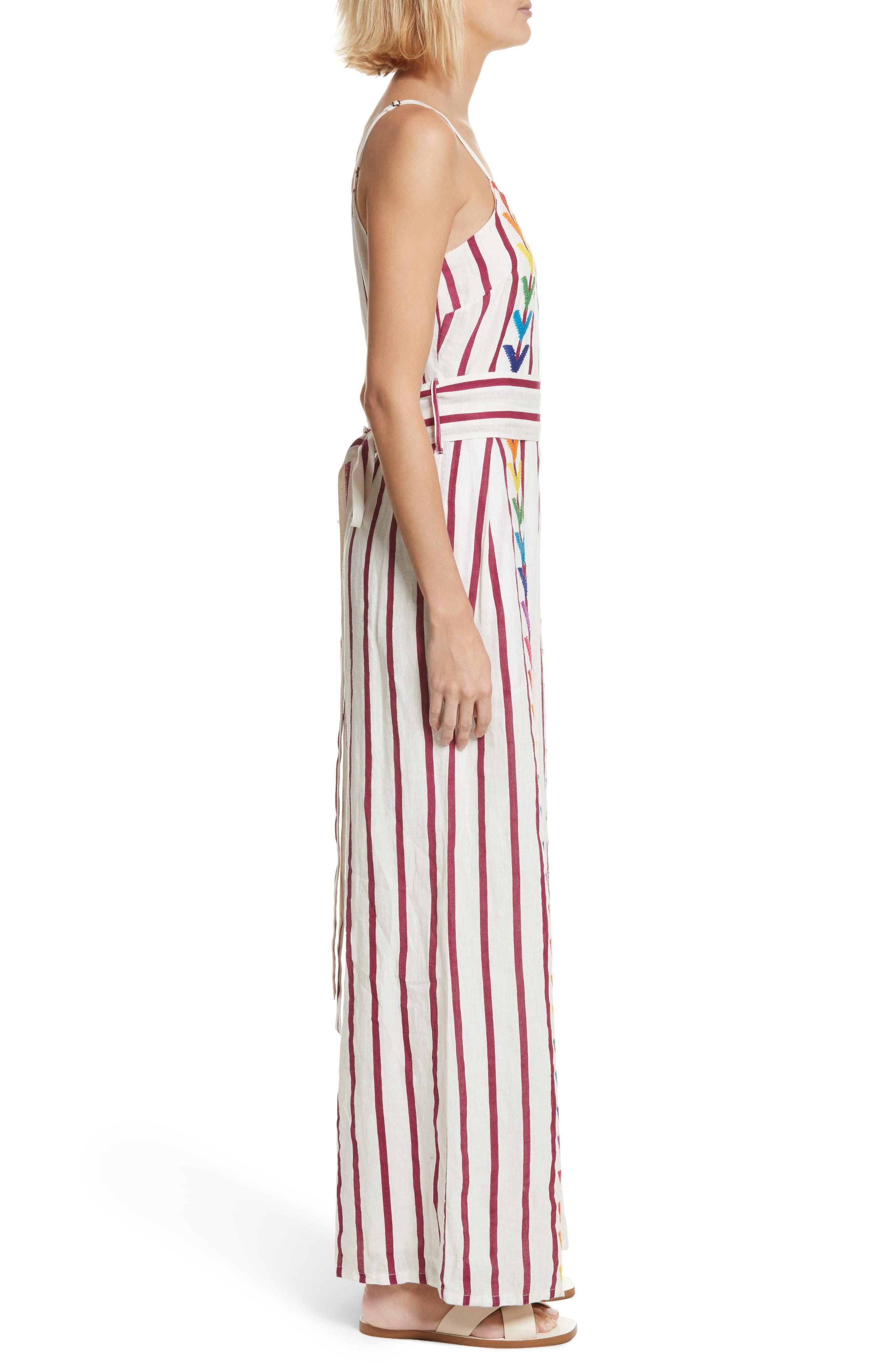 Lisa Stripe Jumpsuit,                             Alternate thumbnail 3, color,                             Off White/ Burgundy