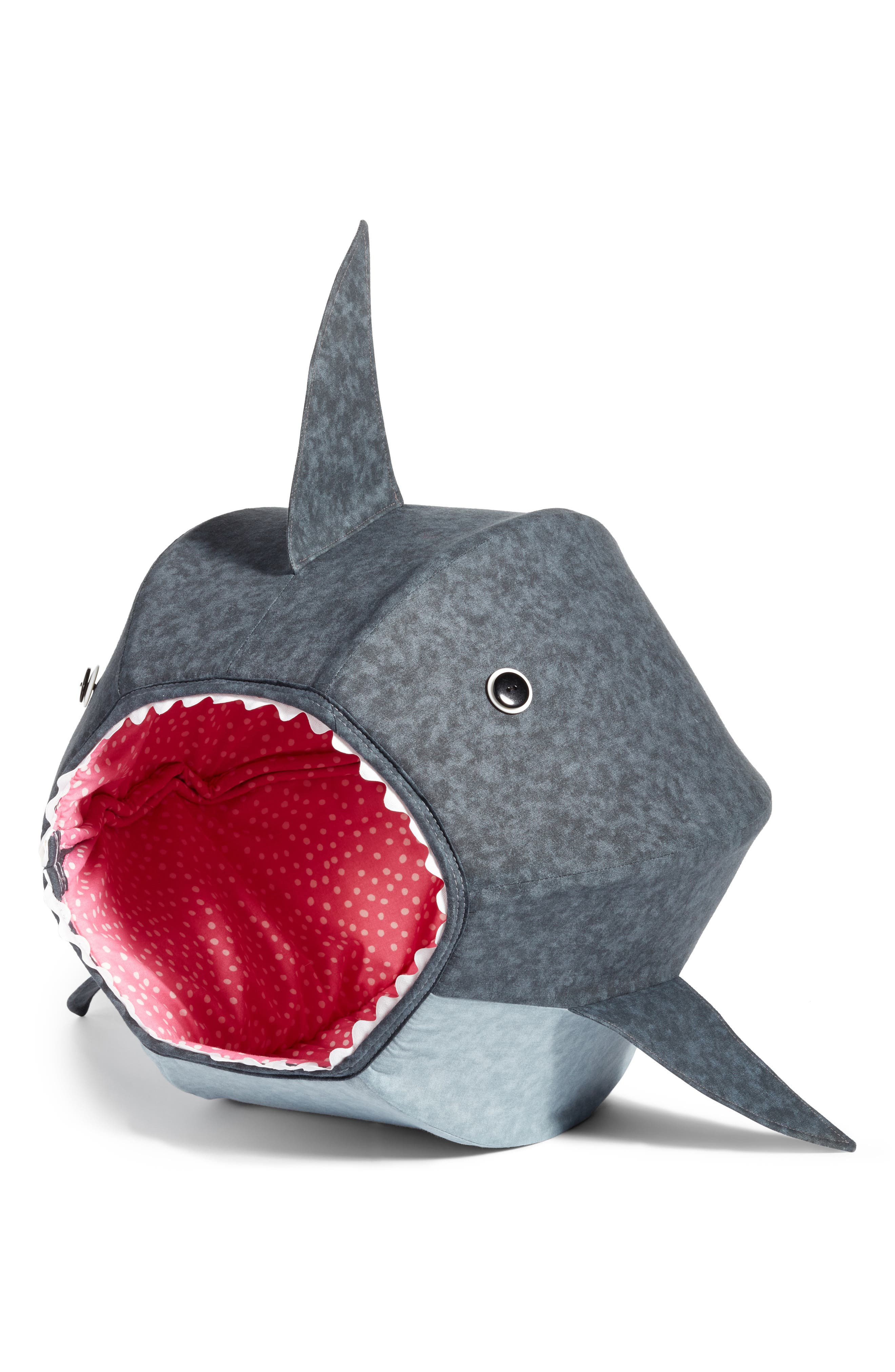Great White Shark Cat Bed,                         Main,                         color, Grey