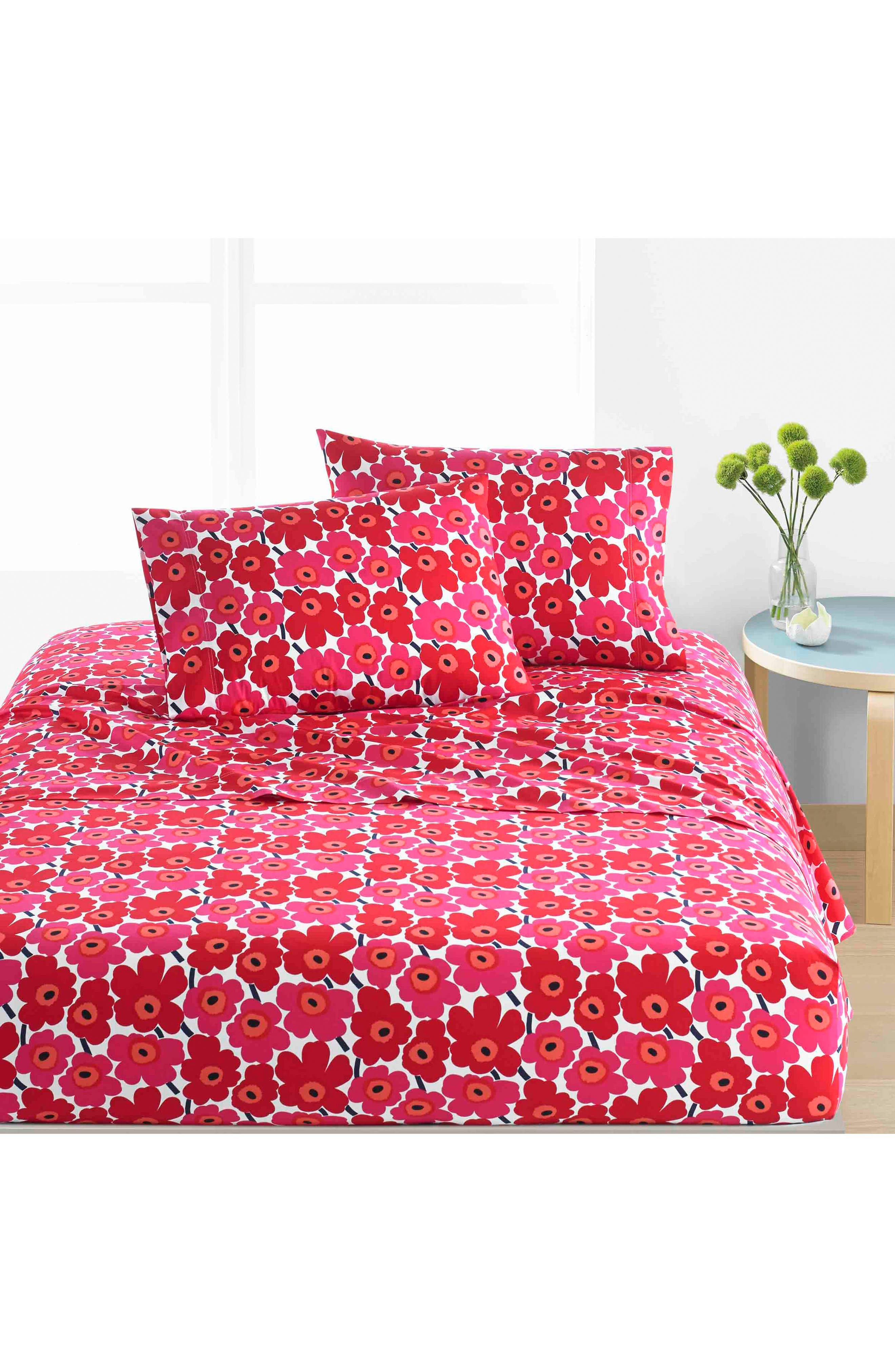 Unikko 200 Thread Count Cotton Sheet Set,                         Main,                         color, Dark Red