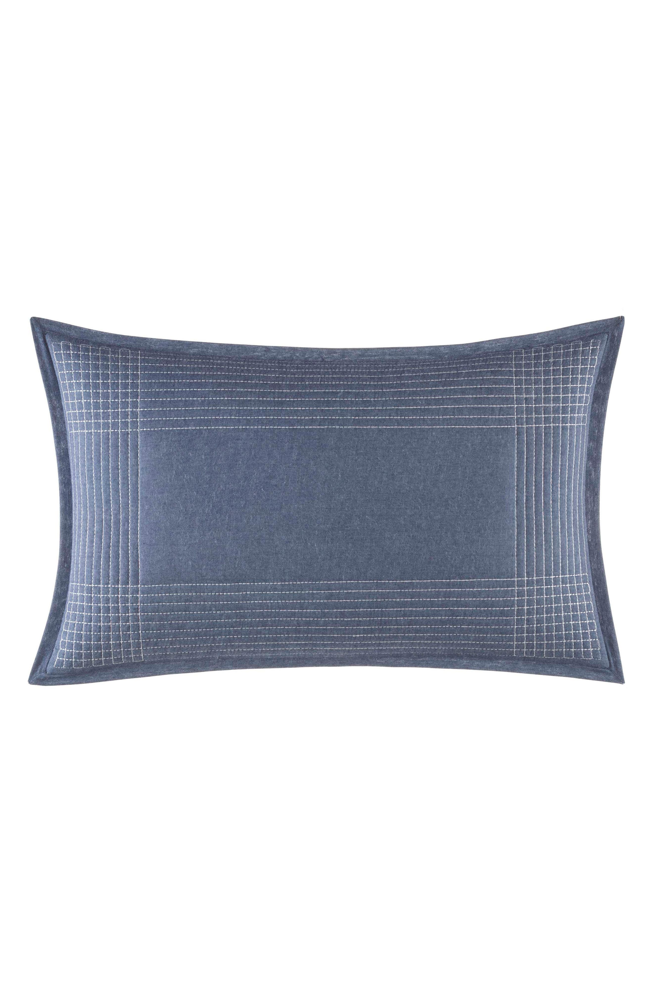 Norwich Stitched Accent Pillow,                             Main thumbnail 1, color,                             Medium Blue