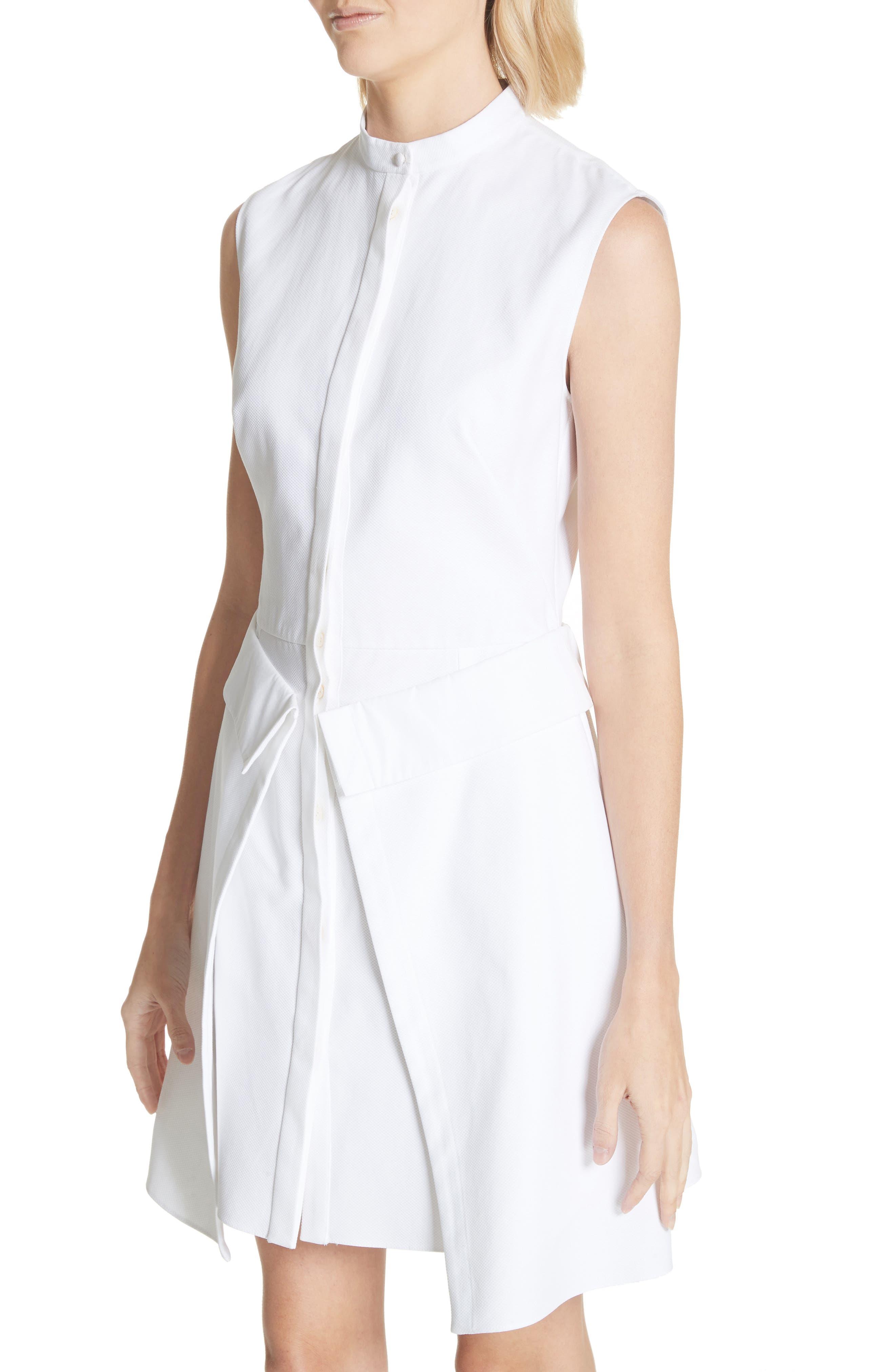 Peplum Hem Piqué Dress,                             Alternate thumbnail 5, color,                             Optic White