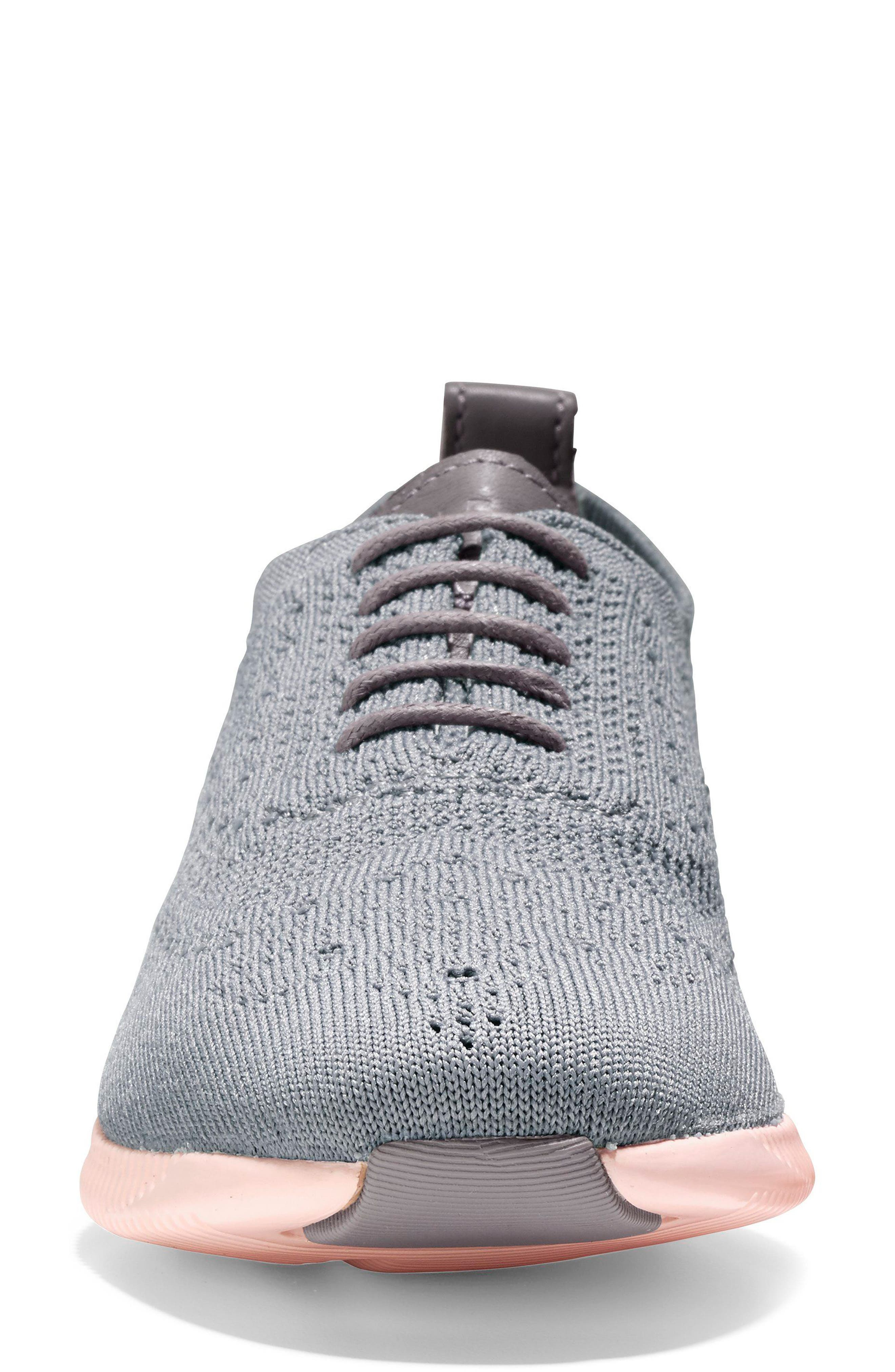 2.ZERØGRAND Stitchlite Wingtip Sneaker,                             Alternate thumbnail 4, color,                             Ironstone Knit Fabric