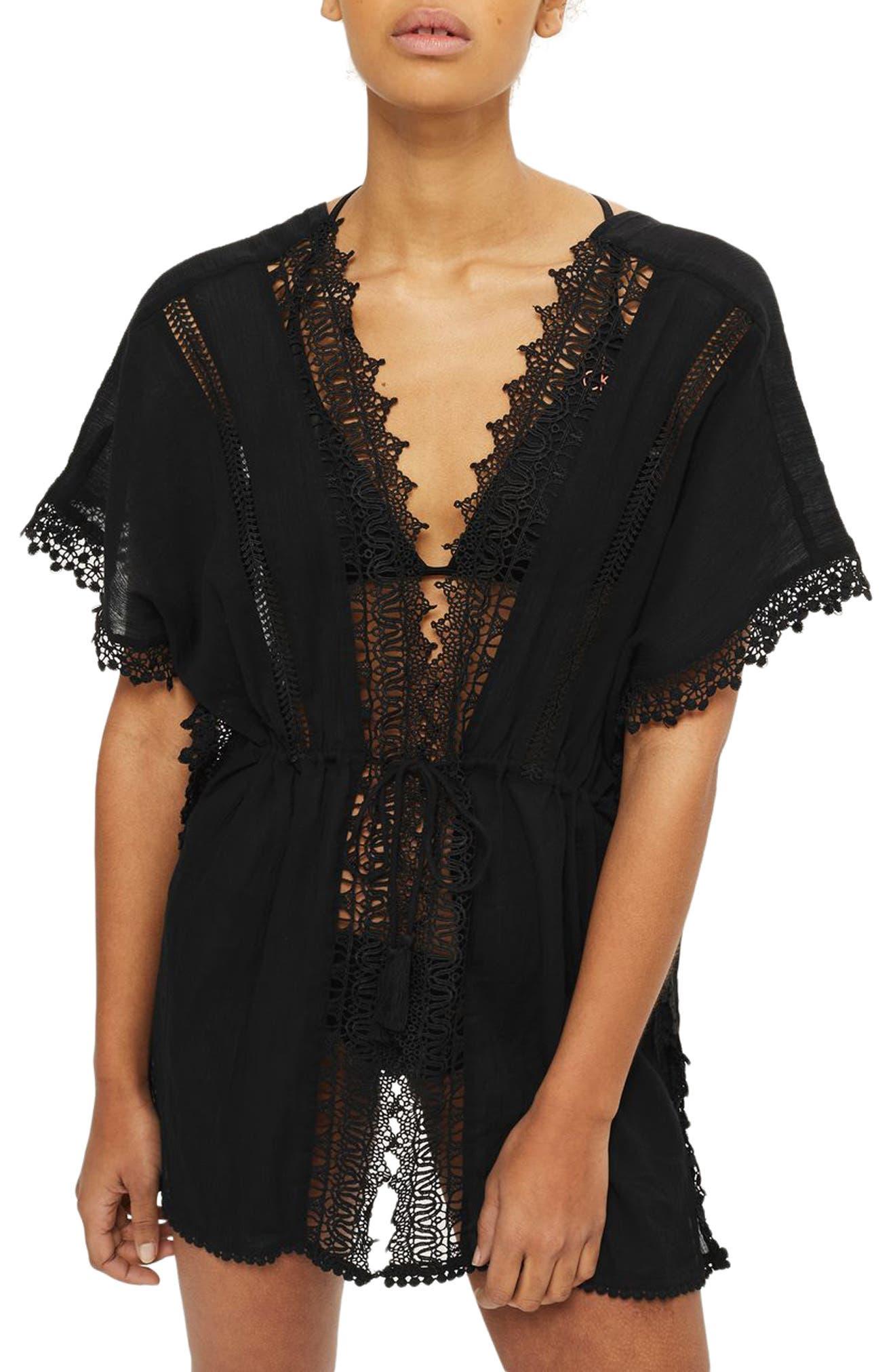 V-Neck Cover-Up Caftan,                         Main,                         color, Black